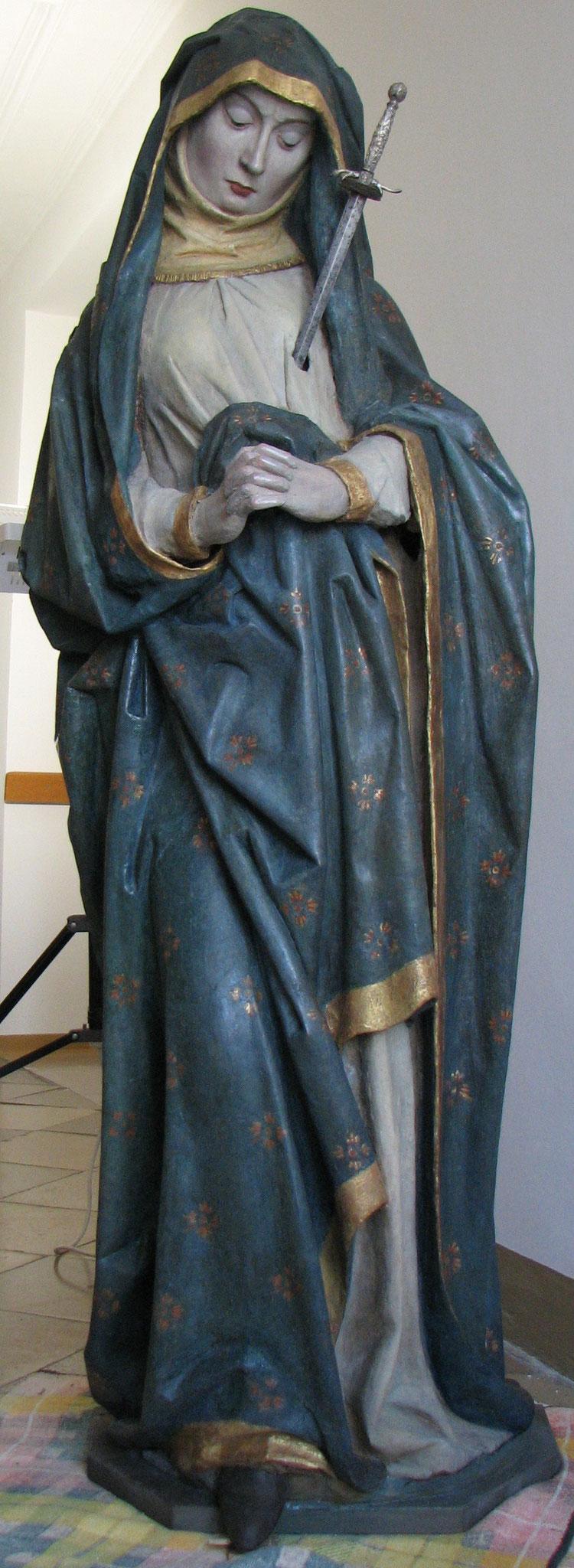 Schmerzhafte Muttergottes aus Terrakotta; 15. Jh. Mindelheim Stadtpfarrkirche im Nonnenchor