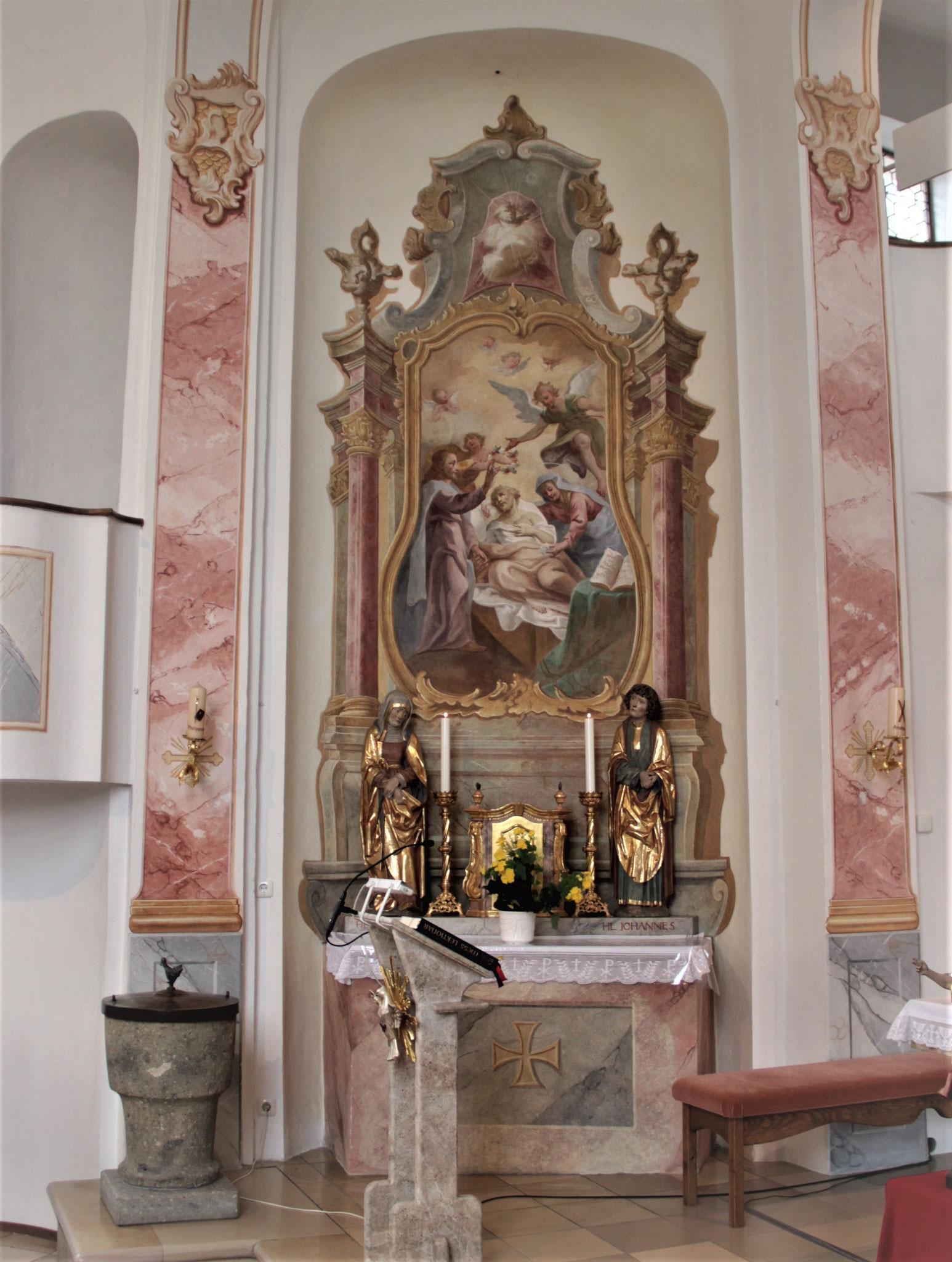 Kath. Pfarrkirche Diemantstein Marmorierung der Pilaster