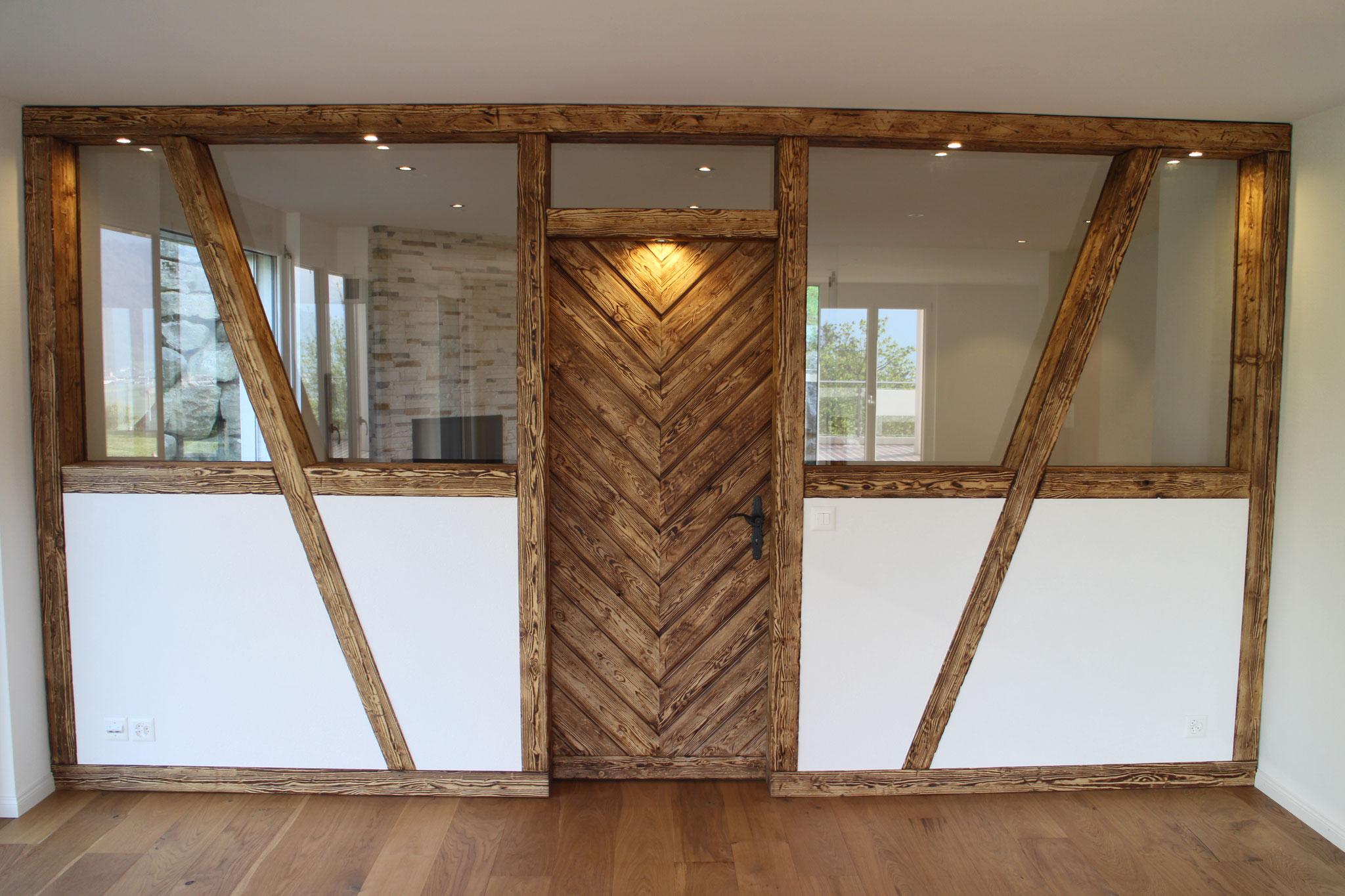 Nachher - Die Riegelwand unterteilt den grossen Wohnraum.