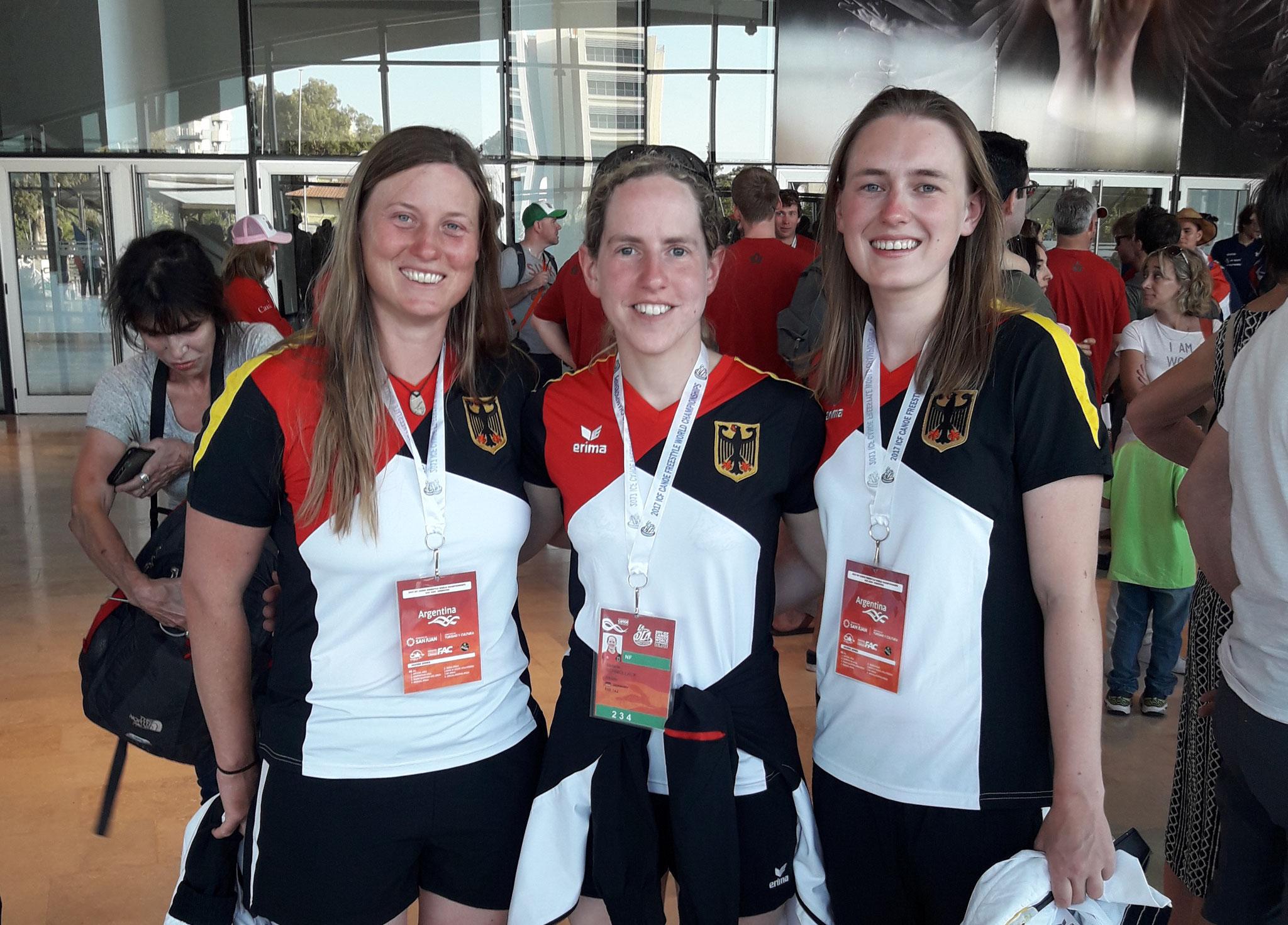 Das deutsche Damen Team bei der WM - Anne Hübner, Stefanie Schmollack und Luisa Heinen