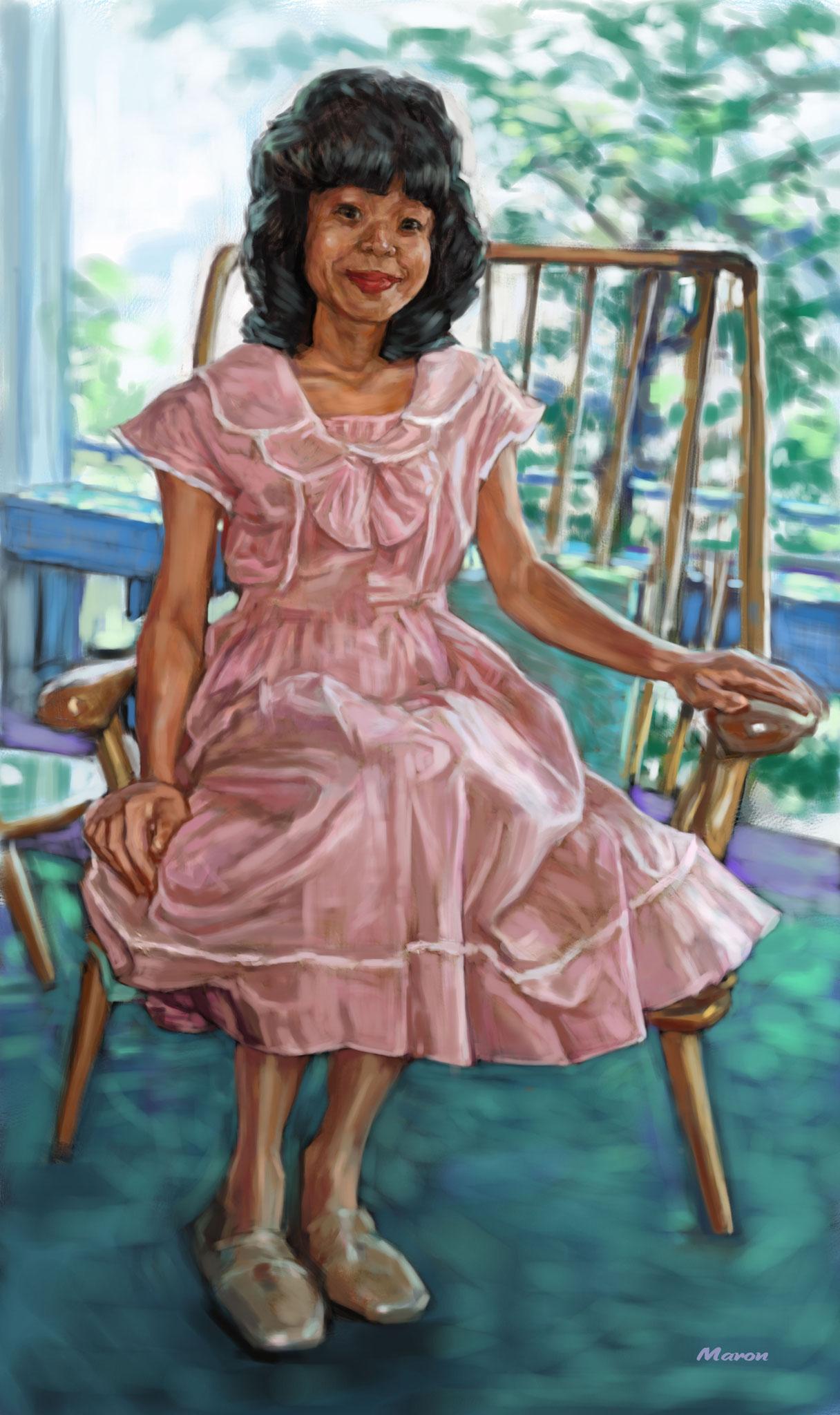 油絵肖像画・椅子に座る女性
