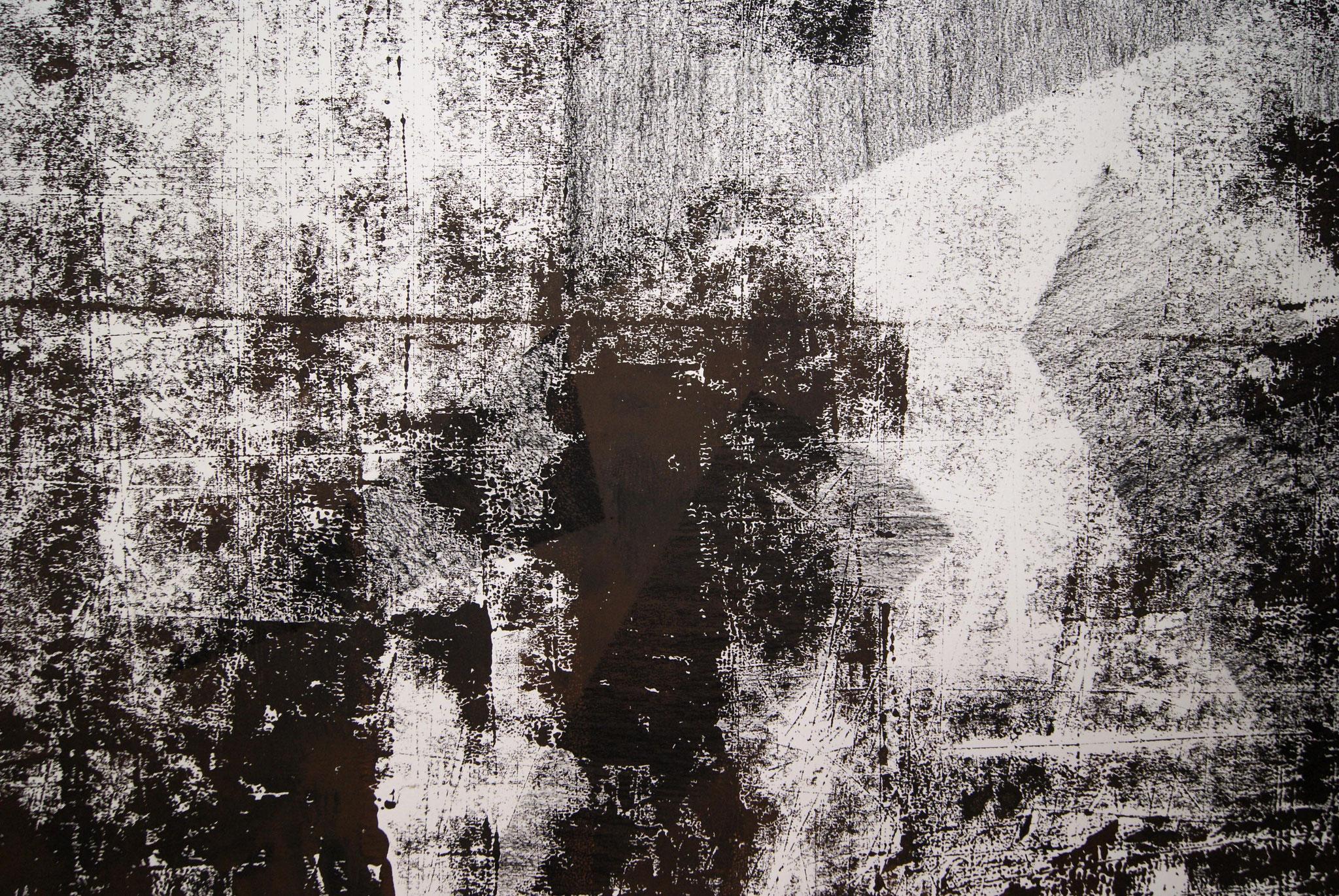 o.T. I, 2017, detail, 228 x 150cm linolprint