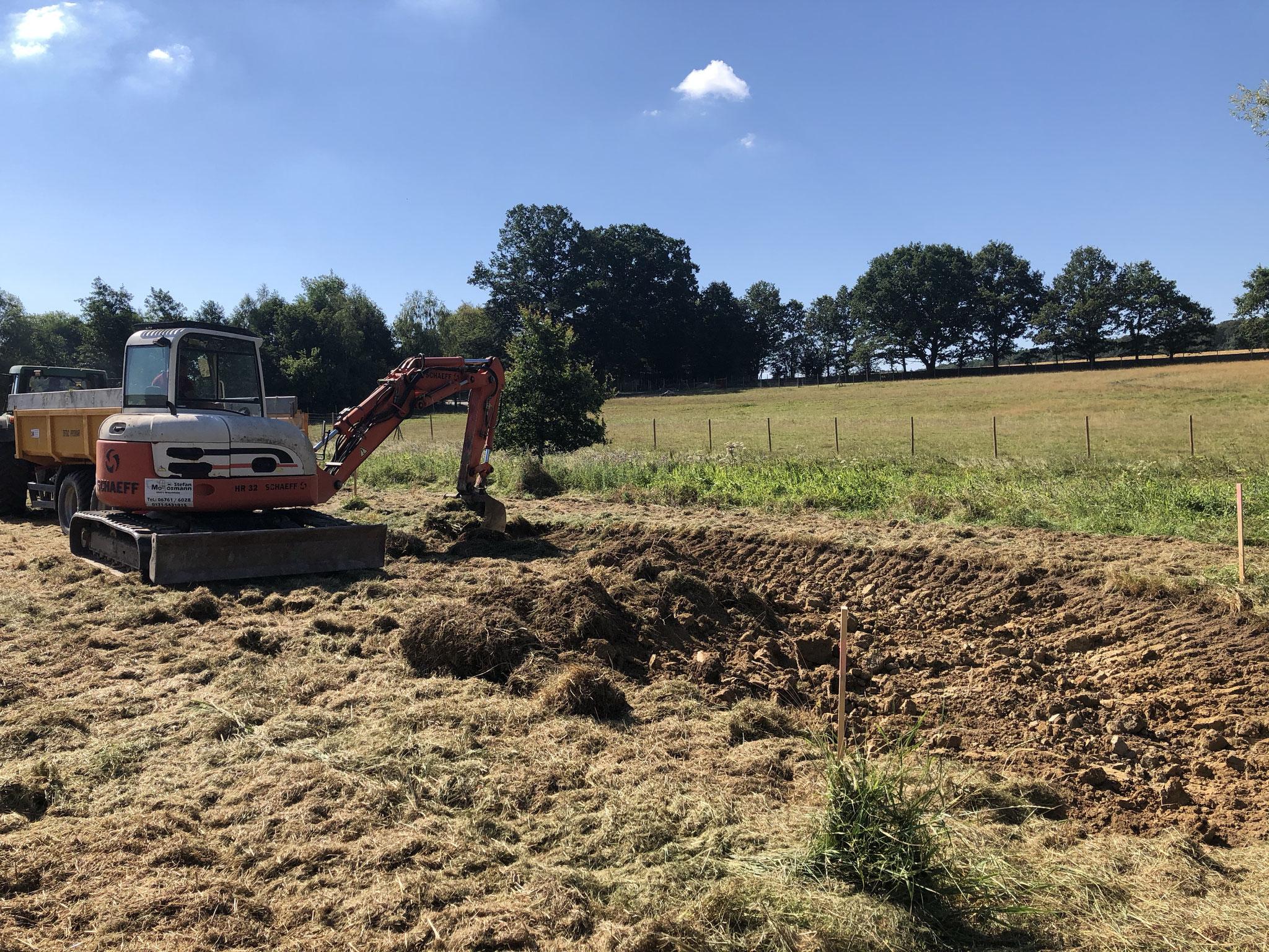 Die Arbeiten am ersten Teich beginnen