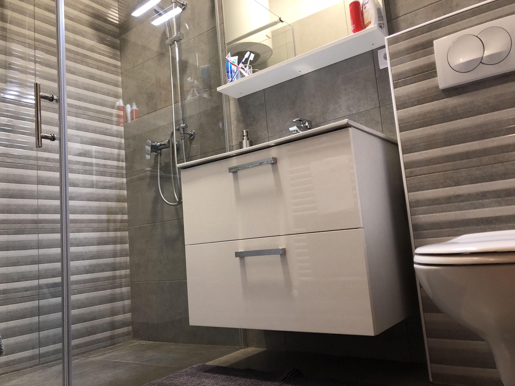 Dusche ebenerdig, WC, Waschbecken, 2018 renoviert.