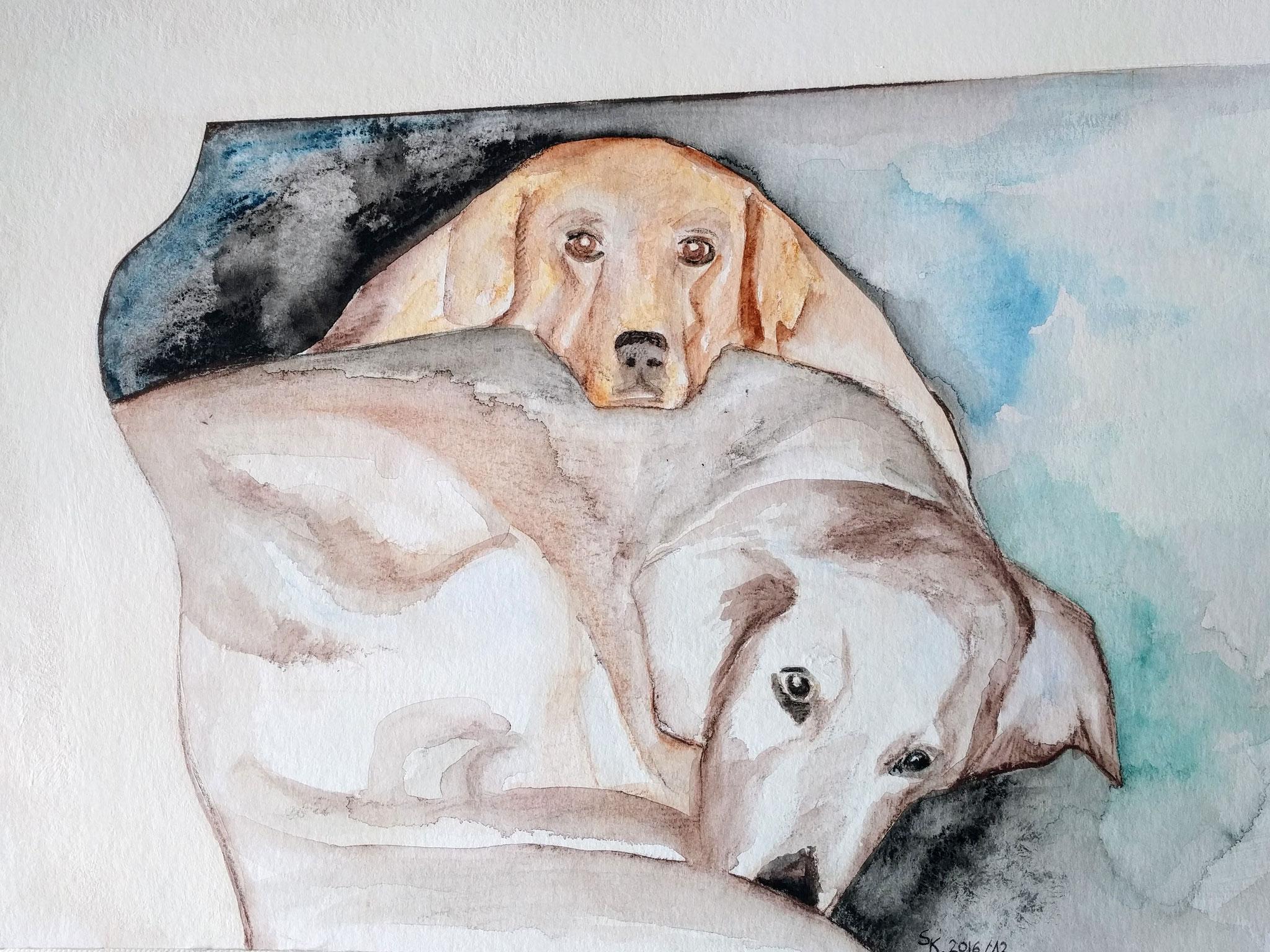 Hundeglück (Aquarellkarton, 30x40cm)