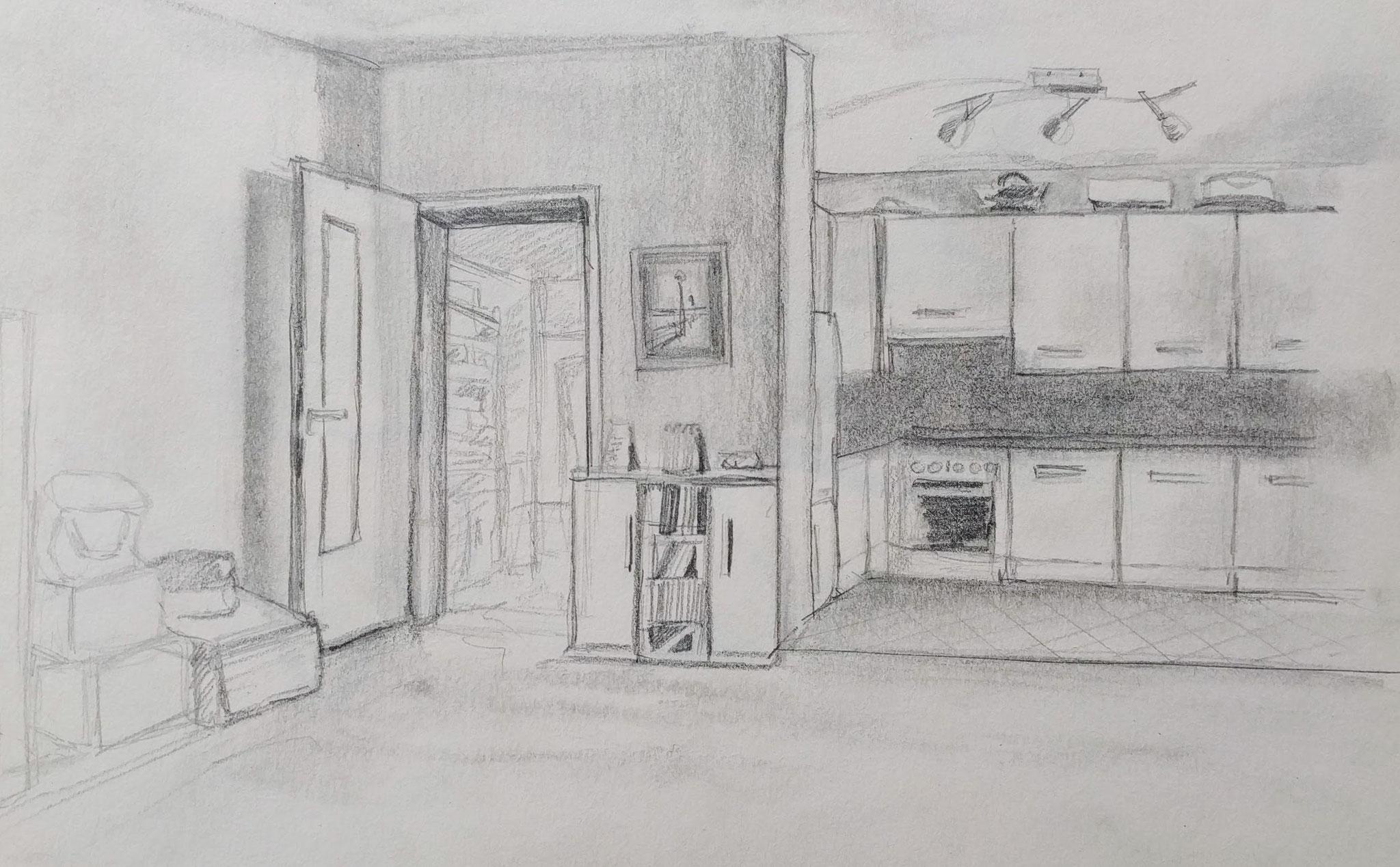 Wohnküche (Skizzenblock, 14x21cm)