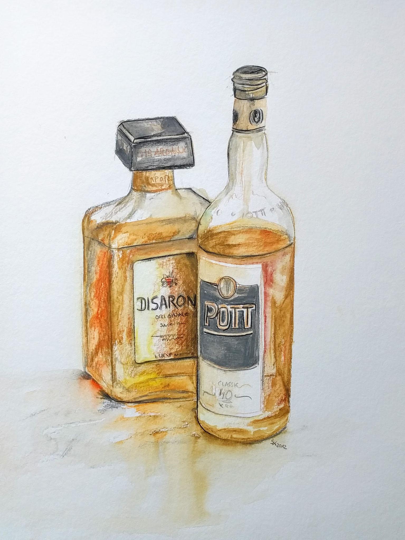 Rum und Amaretto (Aquarellkarton, 35x48cm)