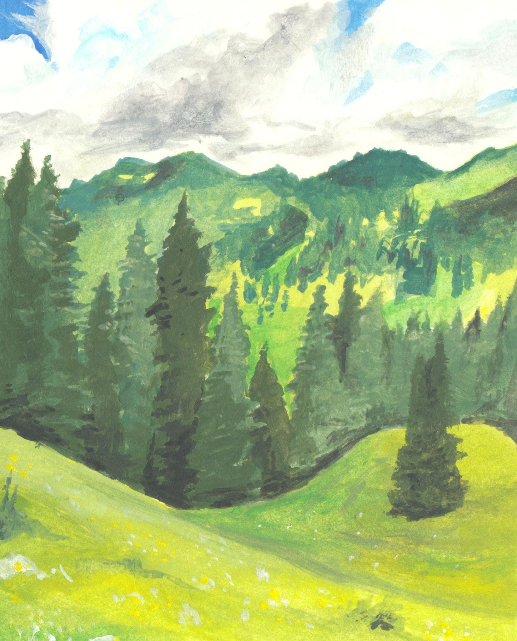 Bergwandern (Skizzenpapier, 8x10cm)