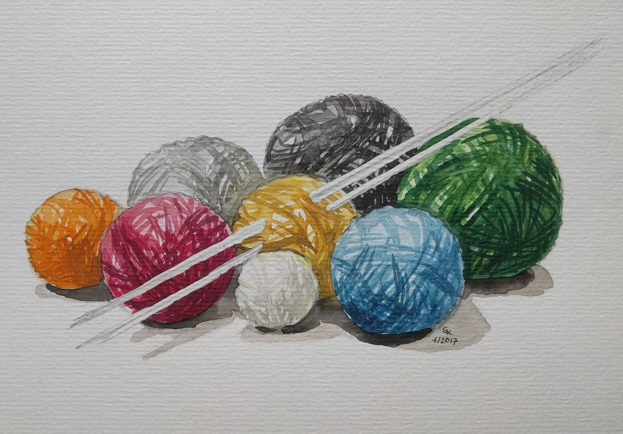 Strickutensilien (Aquarellpapier, 14x21cm)