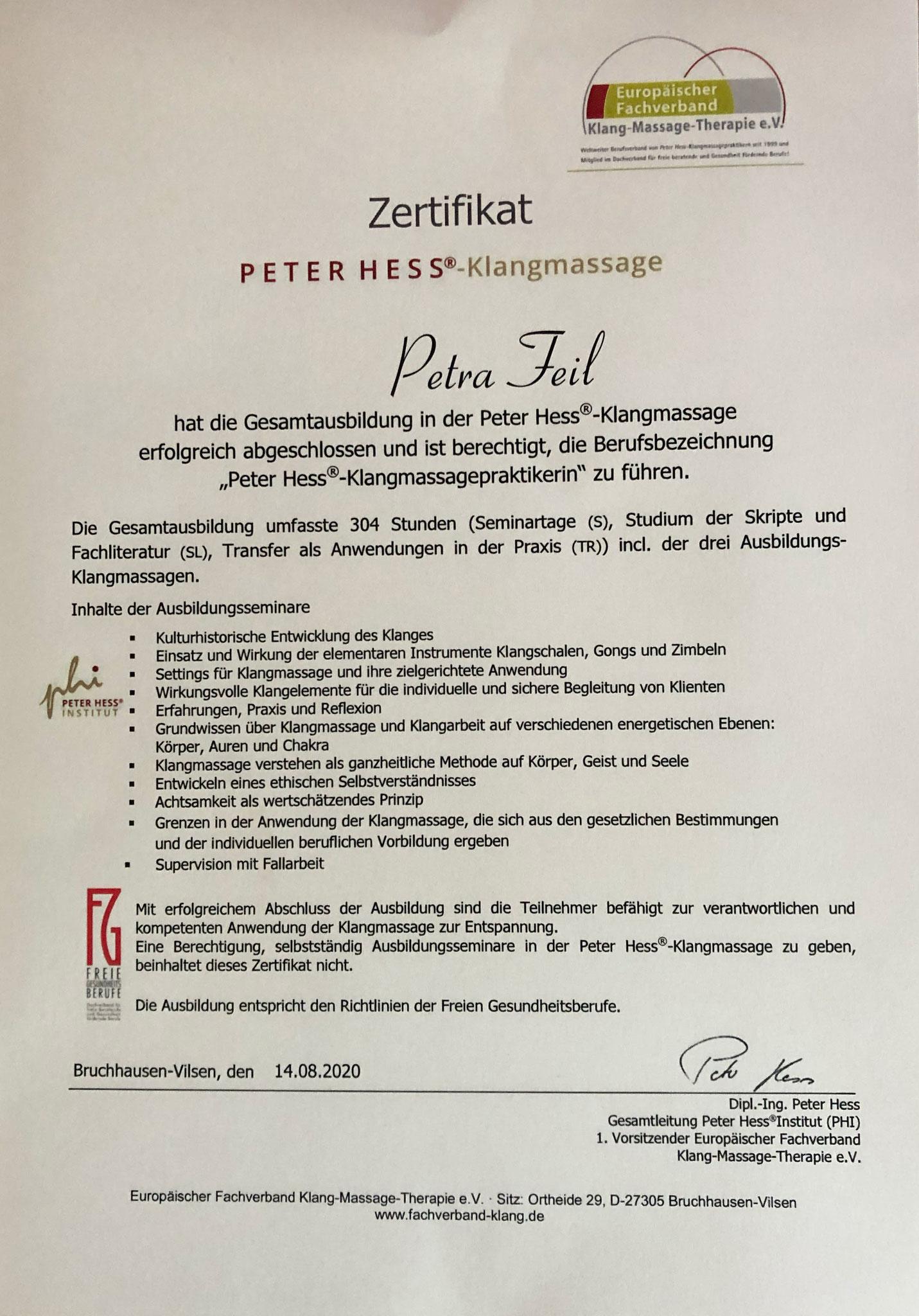 Peter Hess®-Klangmassagepraktikerin - freie Gesundheitsberufe