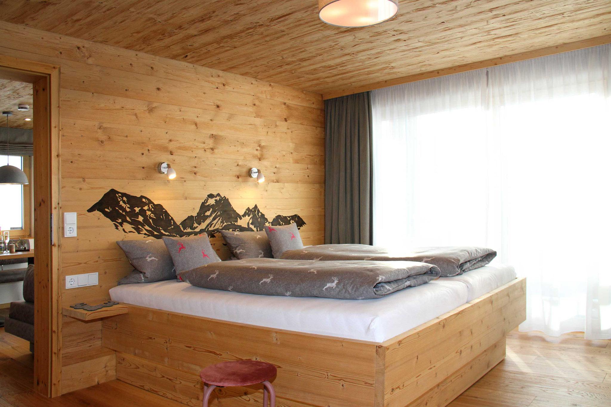 exklusive Ferienwohnung, Wiesengrund, Kleinwalsertal, Bergnäägele, Schlafzimmer