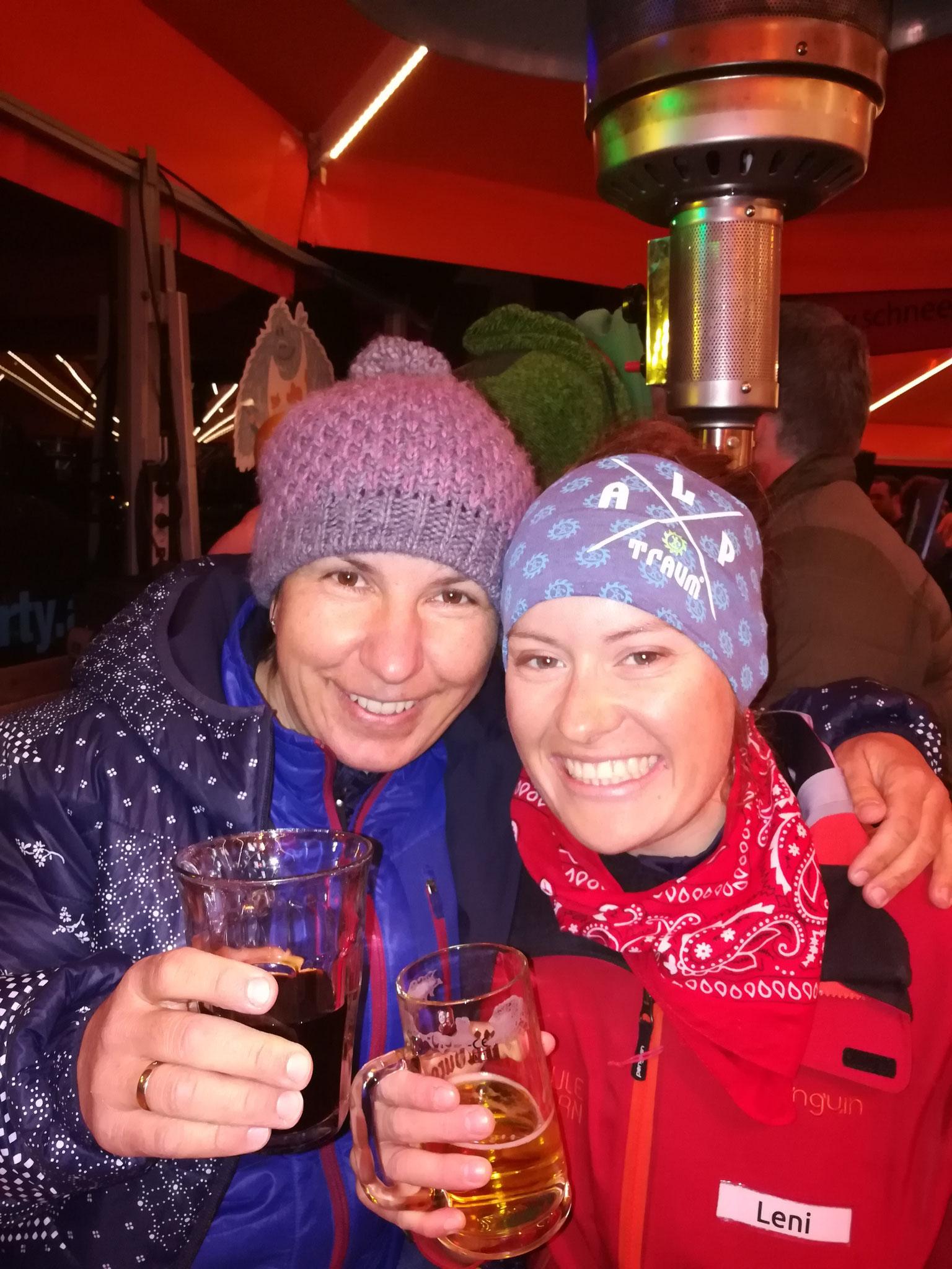 In der Schirmbaar mit Skilehrerin Leni