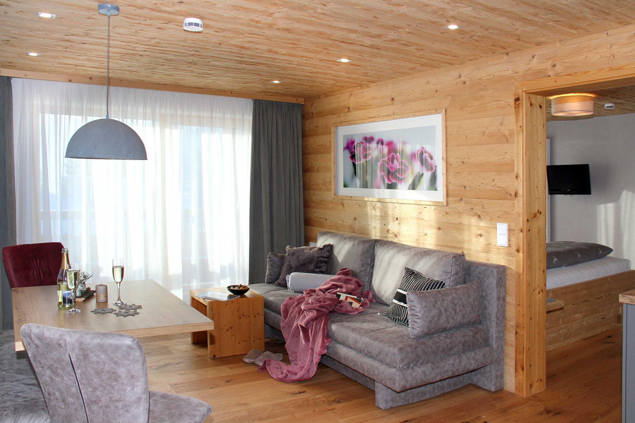 exklusive Ferienwohnung Wiesengrund, Kleinwalsertal, Bergnäägele, Wohnzimmer