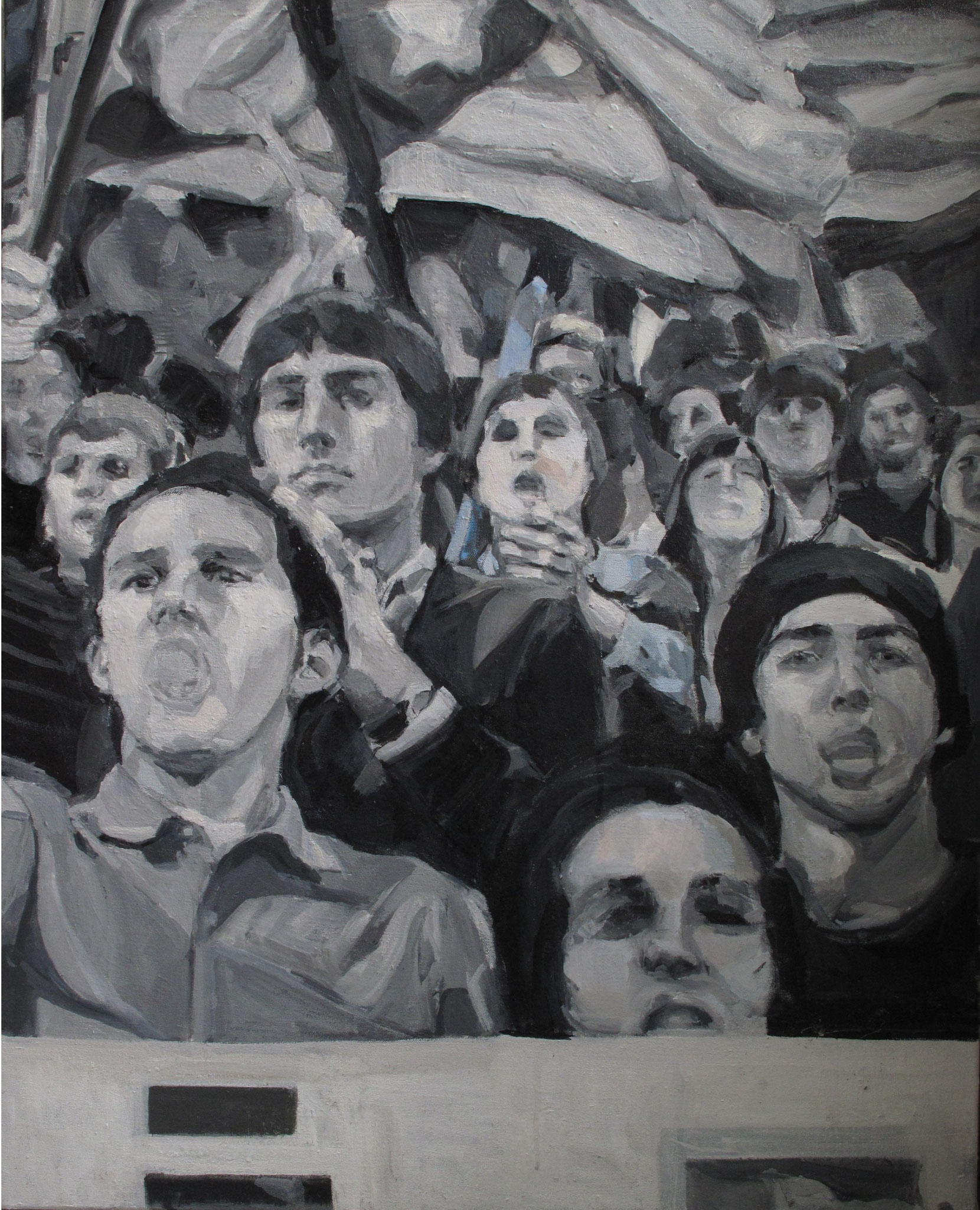 Sans titre (La droite espagnole) - Journaux, Huile sur toile, 2013, 81 x 65 cm
