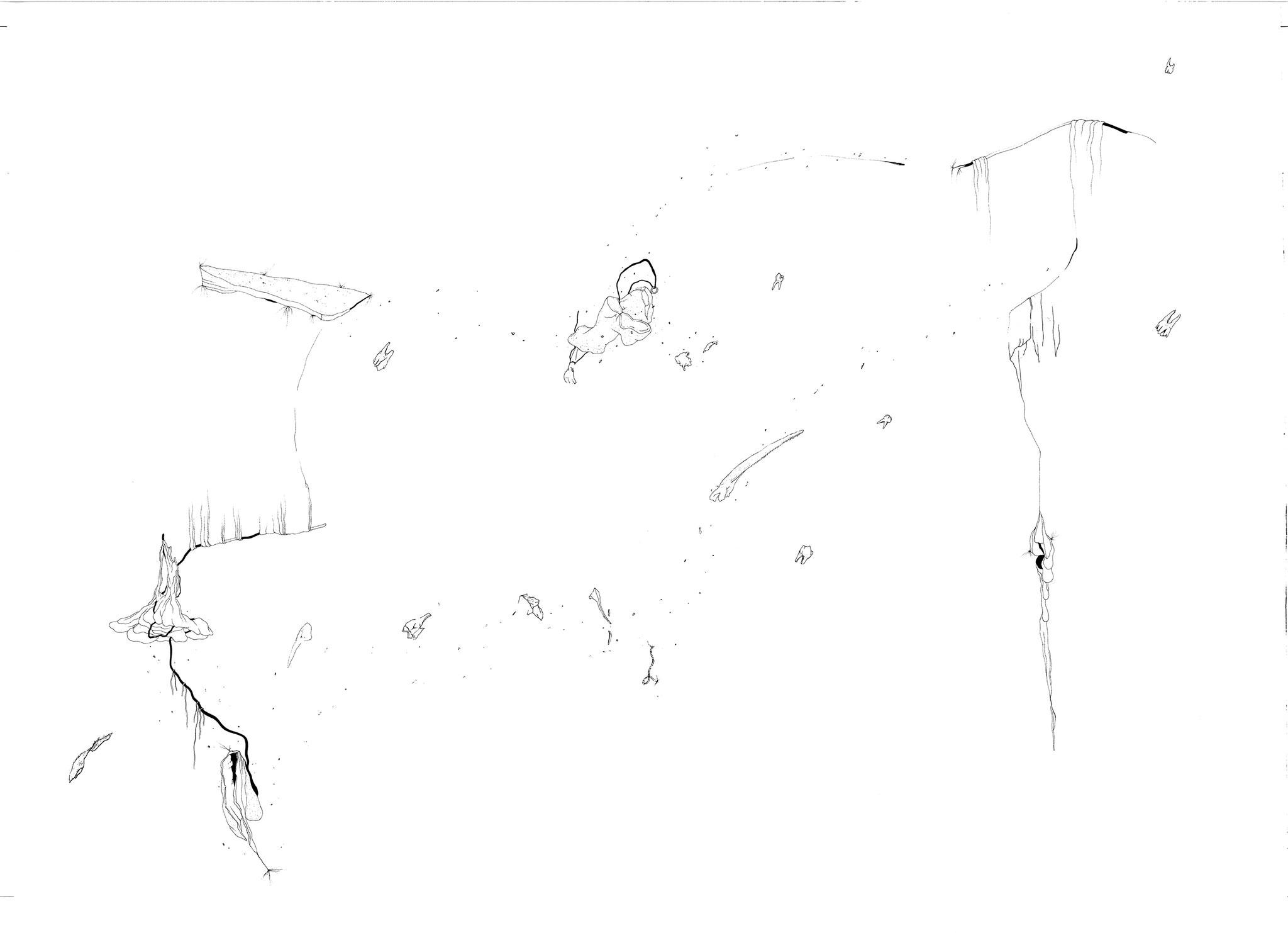 Parodonte, 2018. Plume et encre, rotring sur papier, 78 x 110 cm