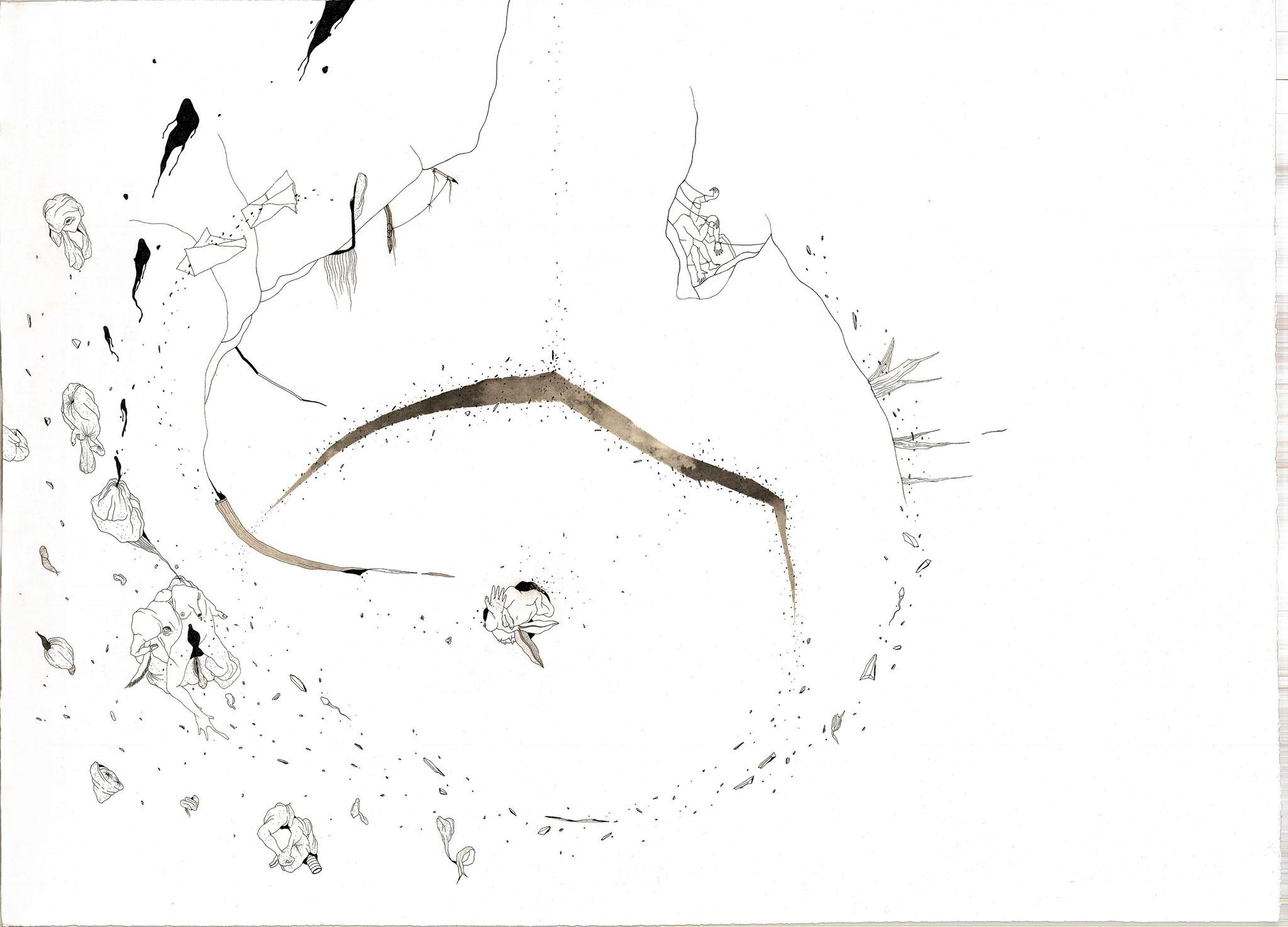 Tourmente, 2018. Plume et encre, rotring sur papier,  78 x 107 cm