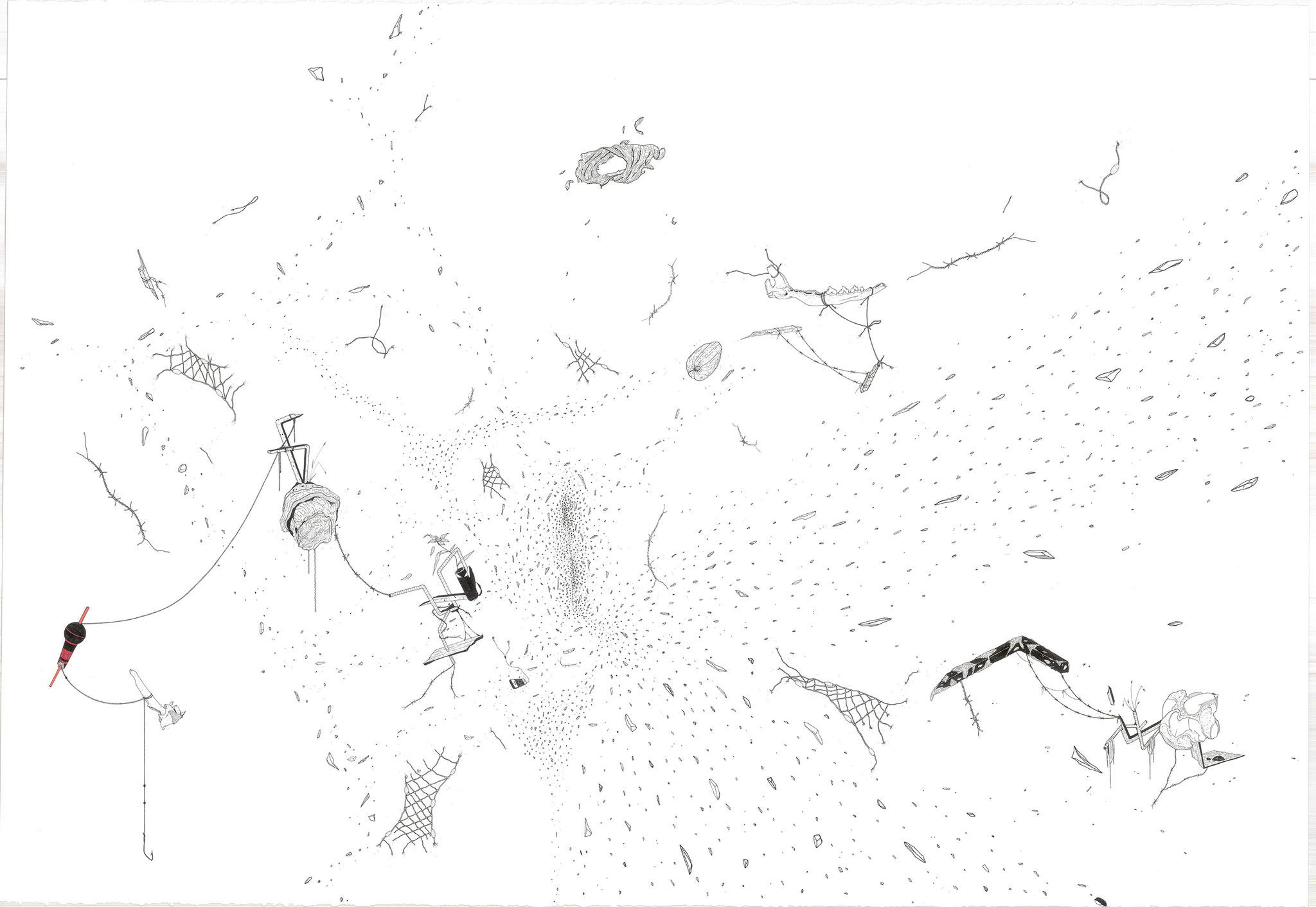 Bulk, 2018. Plume et encre, rotring sur papier, 78 x 112 cm