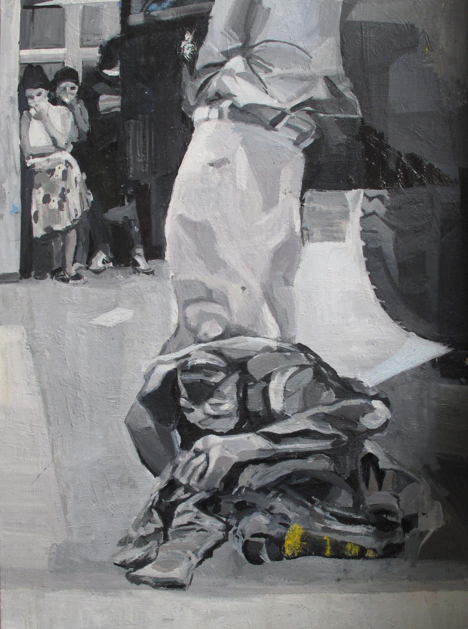 Sans titre - Journaux, Huile sur toile, 2013, 100 x 73 cm