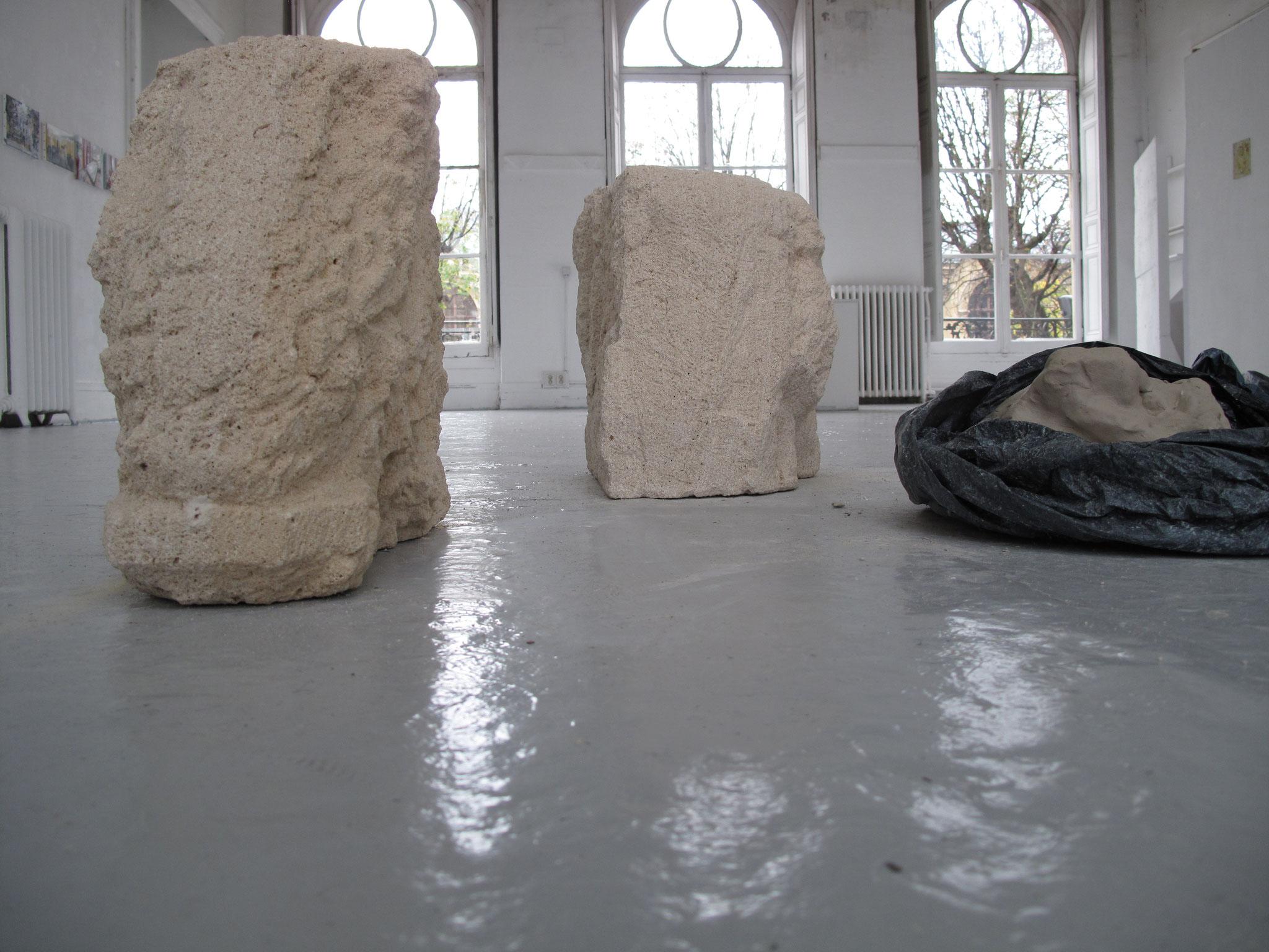 Têtes de chevaux I et II, pierre calcaire, 2015