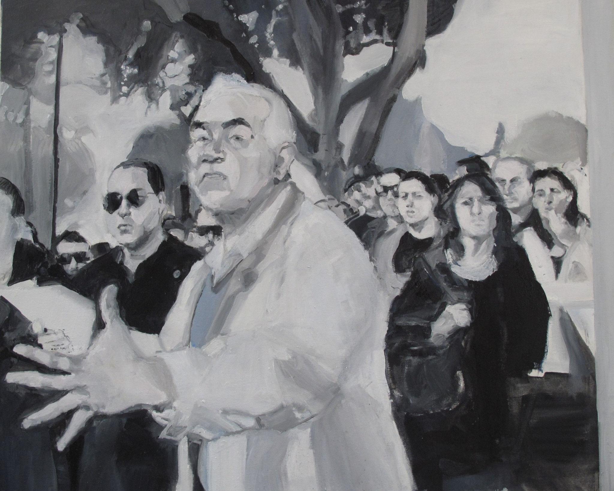 Sans titre (Crise économique grecque) - Journaux, Huile sur toile, 2013, 81 x 65 cm