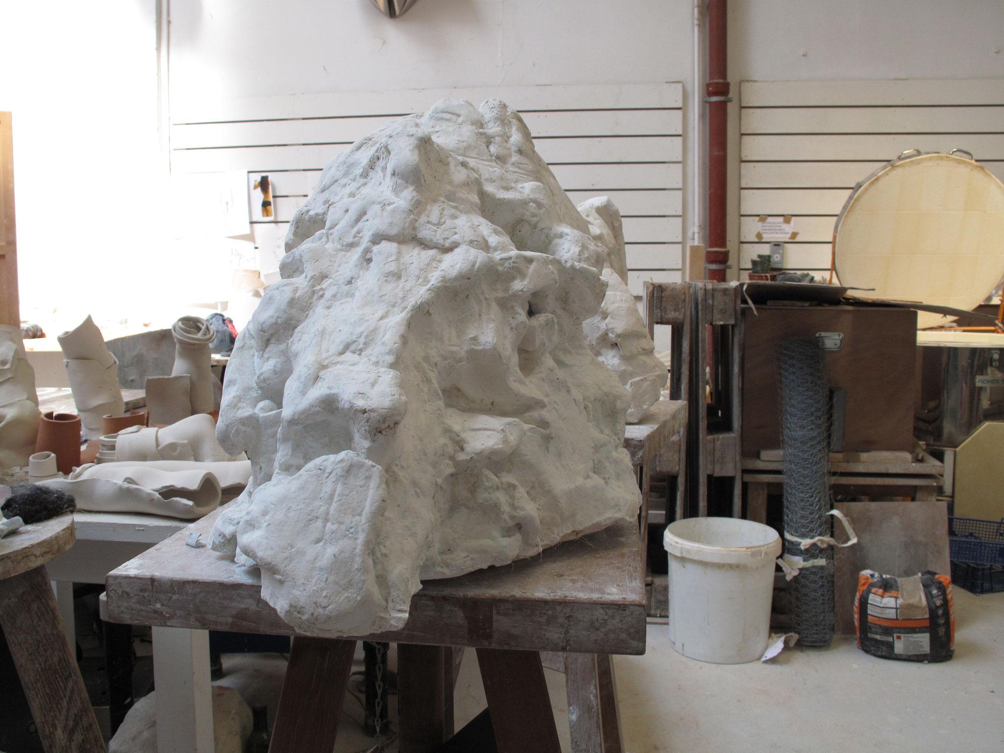 Tête de Mammouth. Plâtre, 2012-2013
