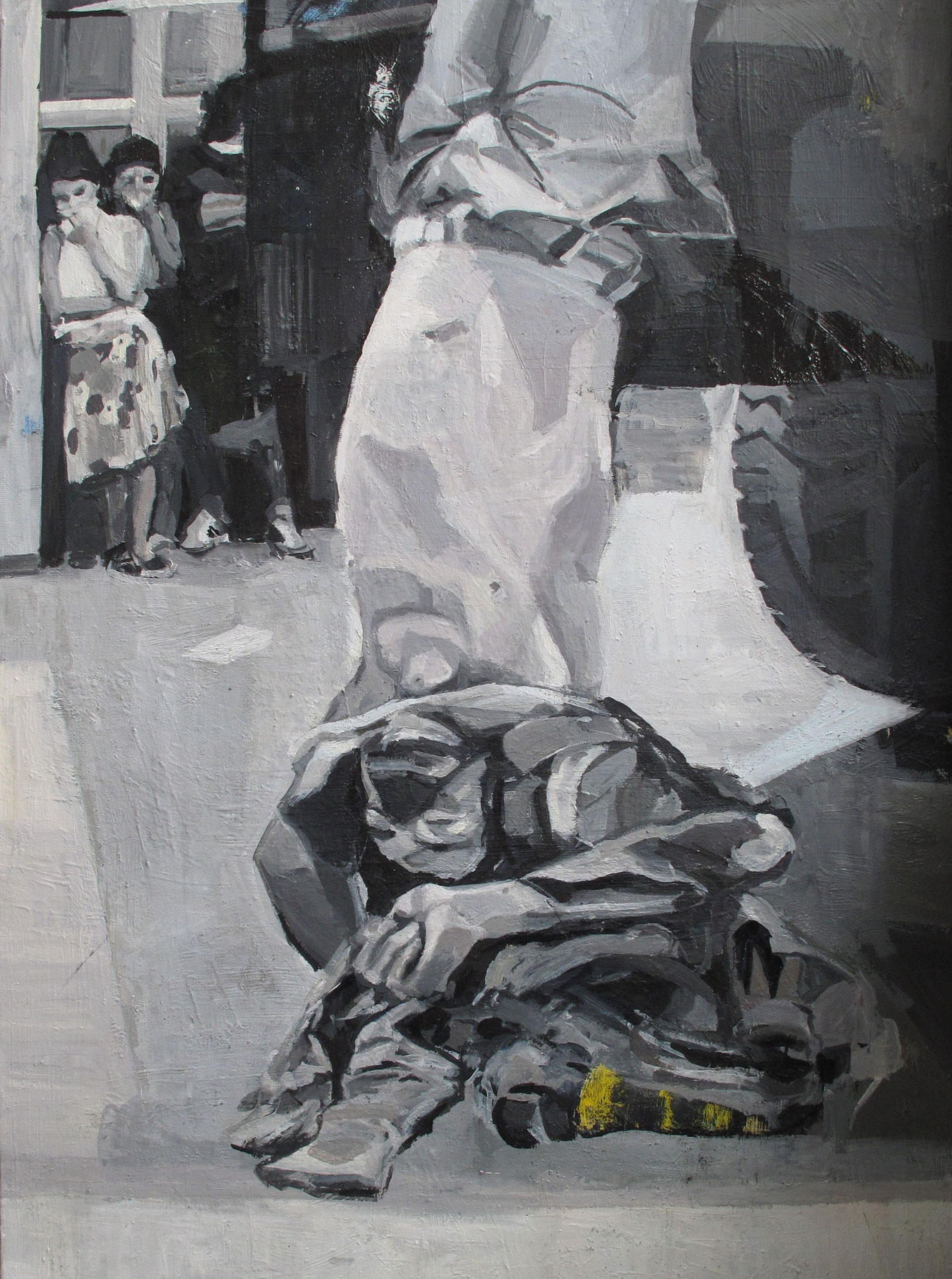 Untitled - Newspapers, Oil on canvas, 2013, 39.3 x 28.7 in.