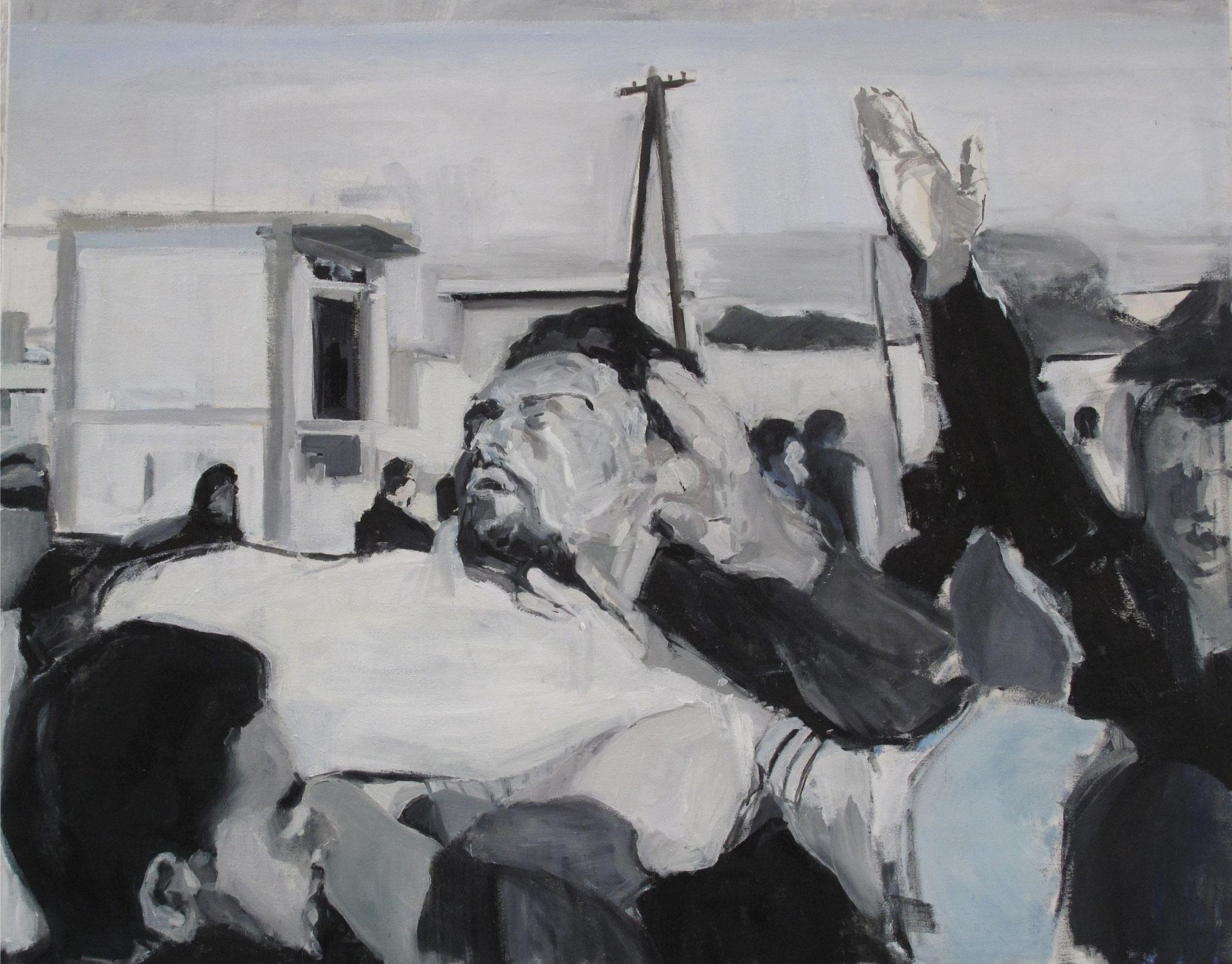 Sans titre ( Afghanistan) - Journaux, Huile sur toile, 2013, 81 x 65 cm