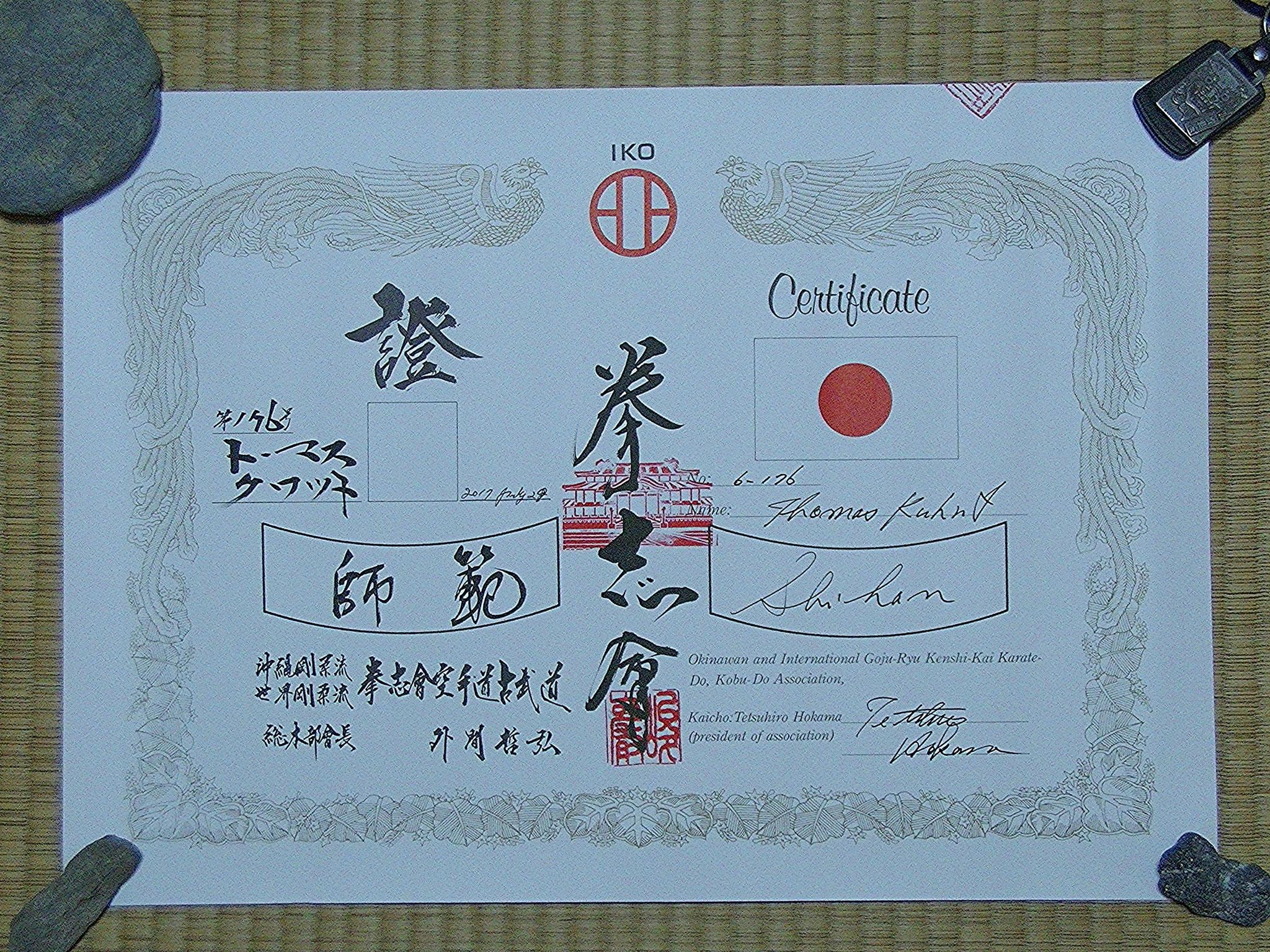 Zertifikat Titel Shihan