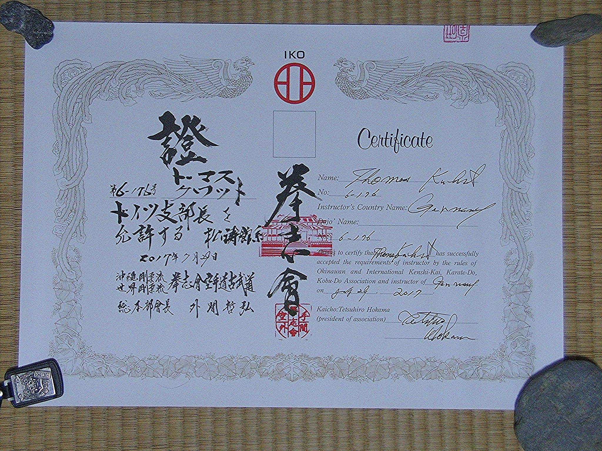Zertifikat offizielle internationale Lehrerlaubnis als Instruktor des Kenshikai in Deutschland