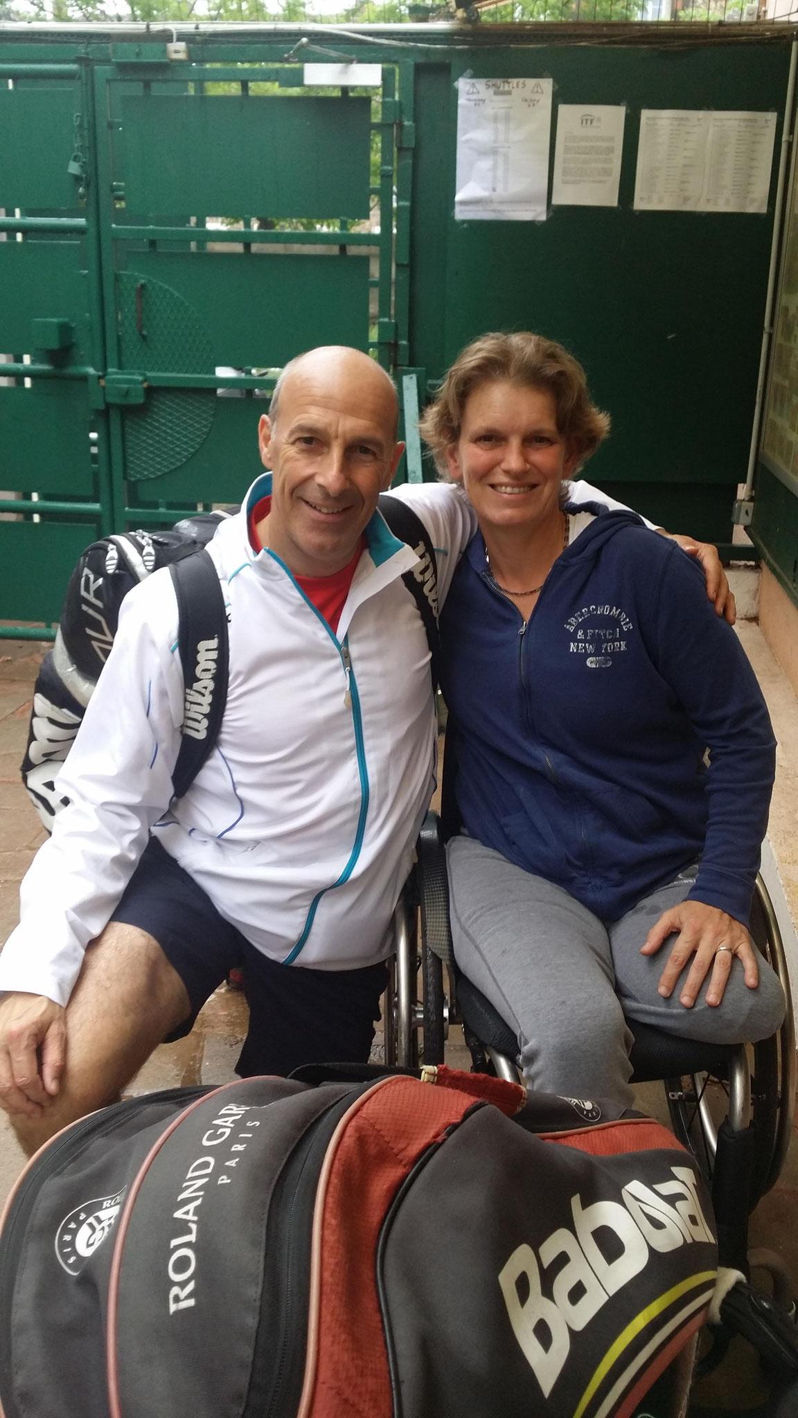 Charlotte Famin no1 française tennis en fauteuil a préparé Roland Garros au CAM mardi 31 mai avec son entraîneur Jean de Saintilan