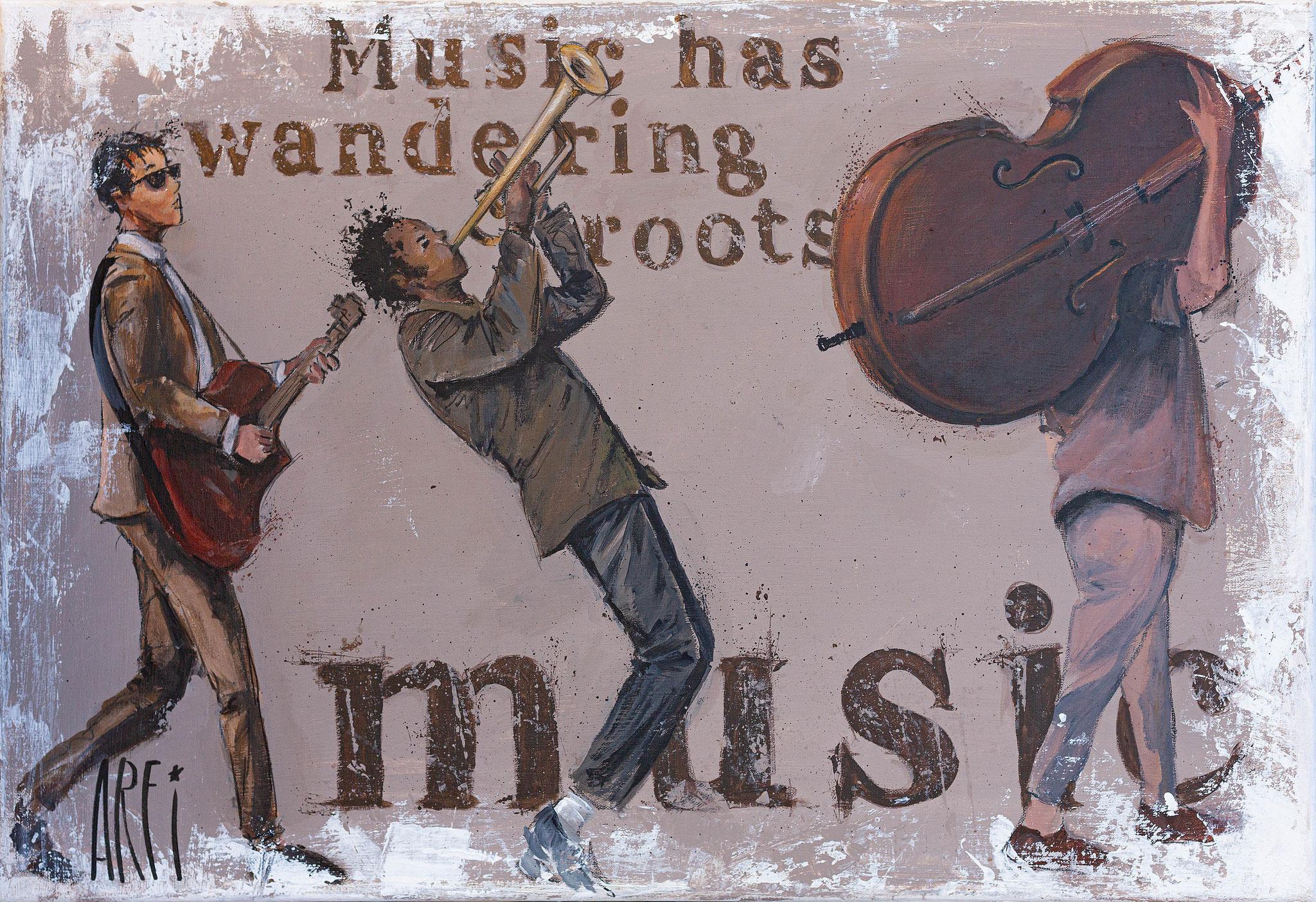 """Musicos"" • Acrylic & pastel • 73 x 50 cm"