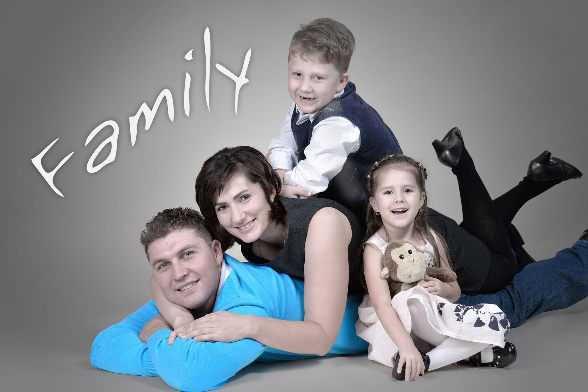 Familienfotos im Fotostudio
