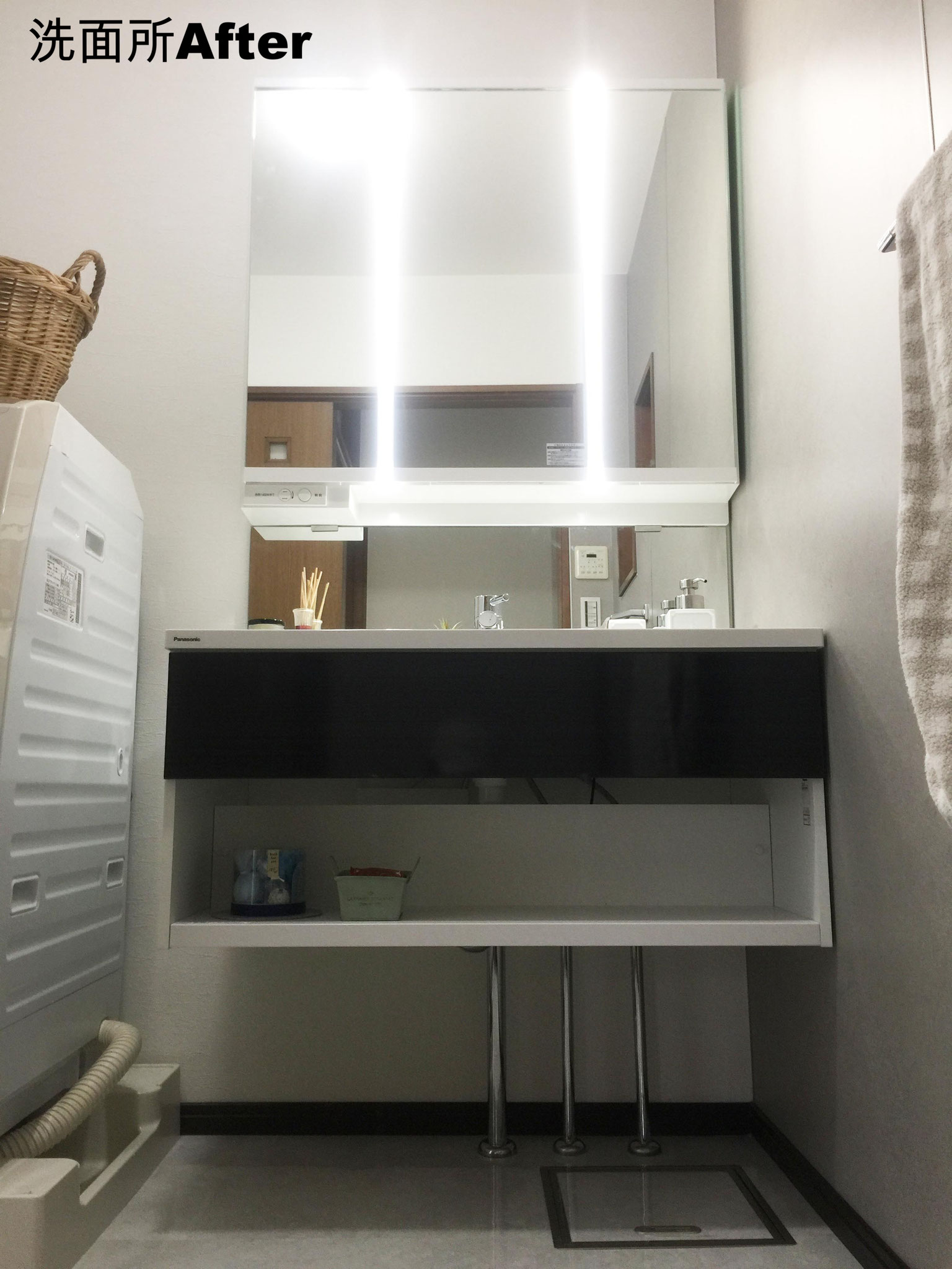 台下がオープンになり、すっきりとした洗面化粧台
