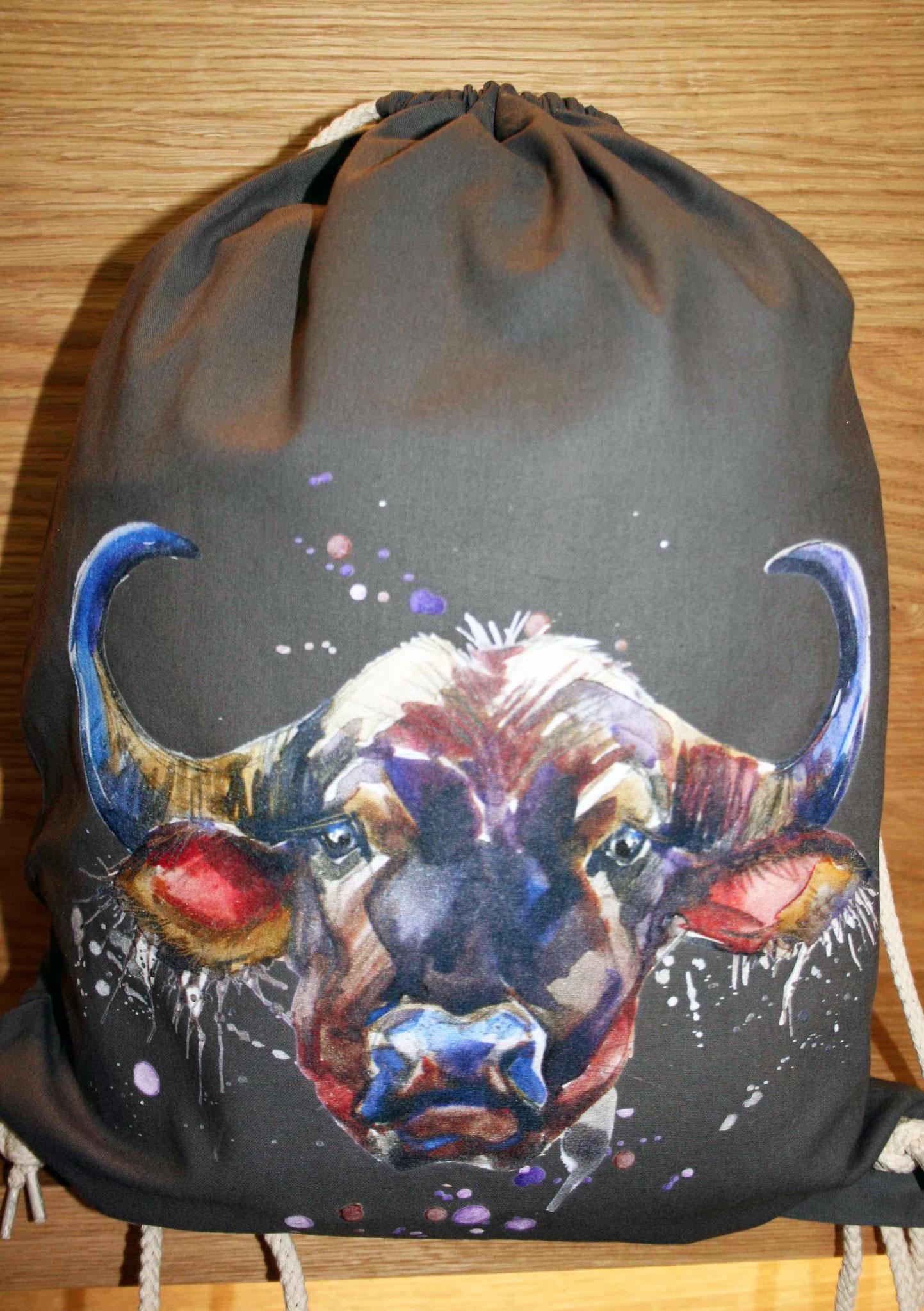 """Gym Bag mit """"Büffel"""" Direkt-Textildruck"""
