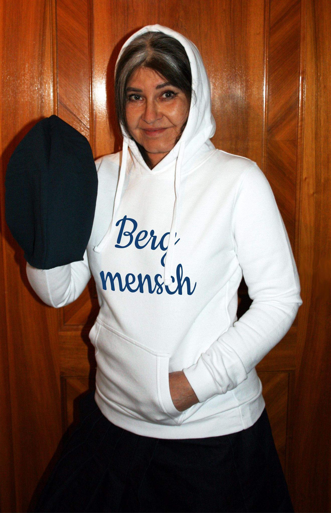 """Damen-Sweater weiss mit Motiv """"Bergmensch"""""""