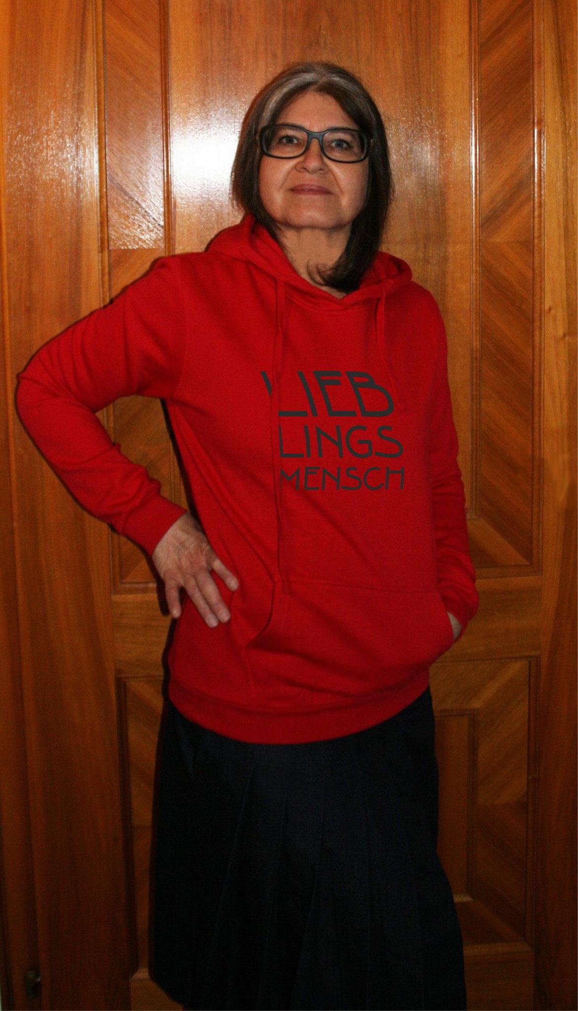 """Damen-Sweater rot  mit Motiv """"LIEBLINGSMENSCH"""""""