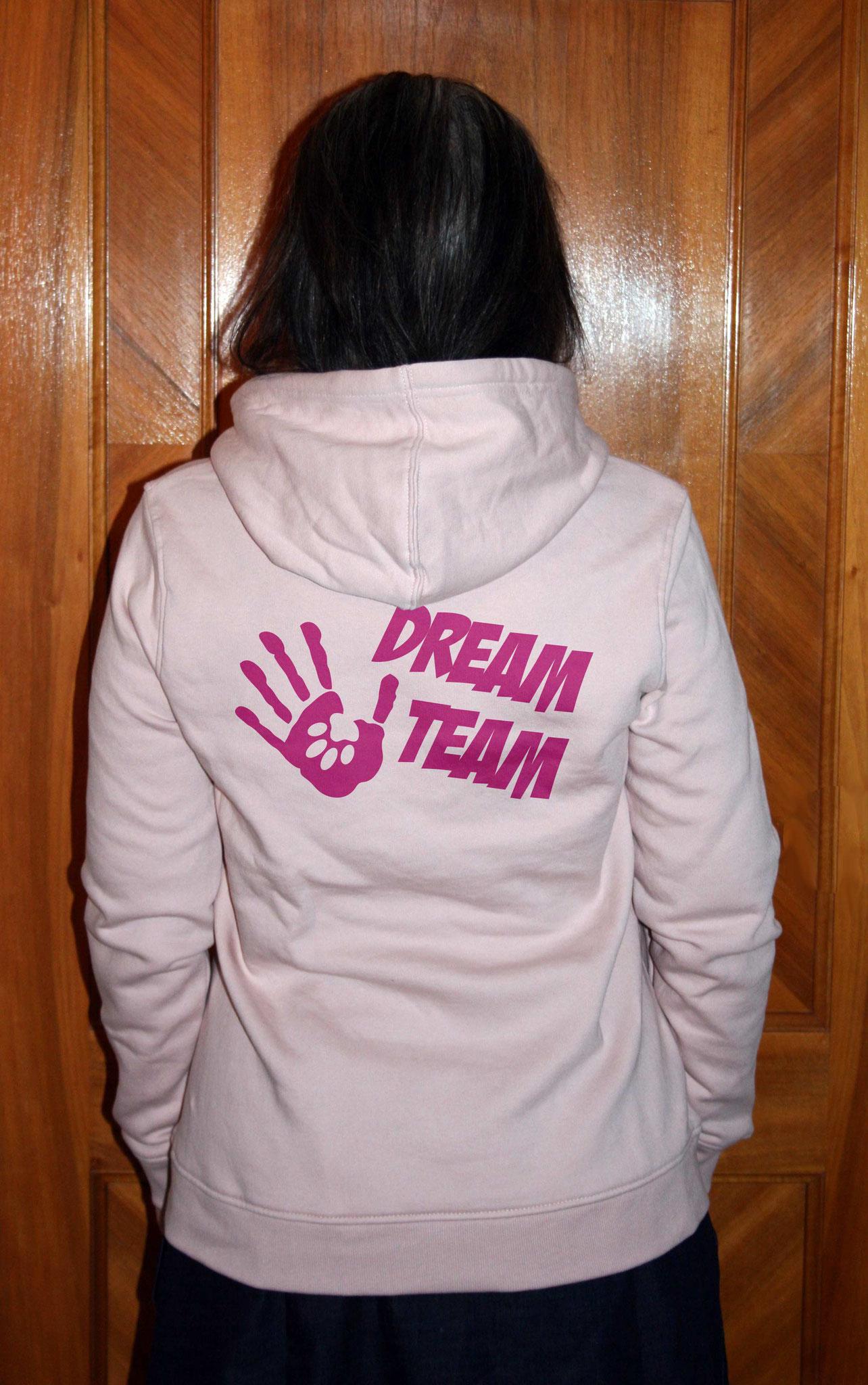 """Bio Damen-Sweater soft rose mit Motiv """"DREAM TEAM"""""""