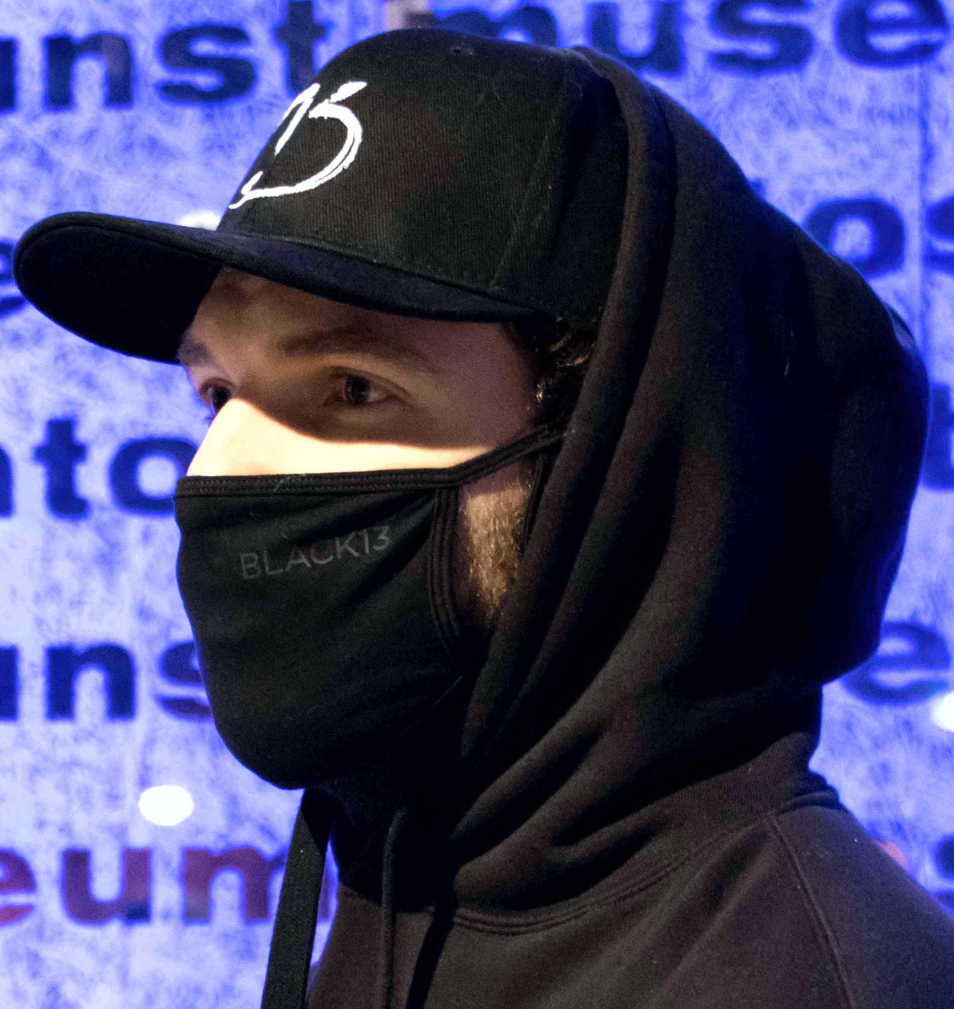 """Stoffmaske mit Flex-Druck Logo """"Black13"""""""