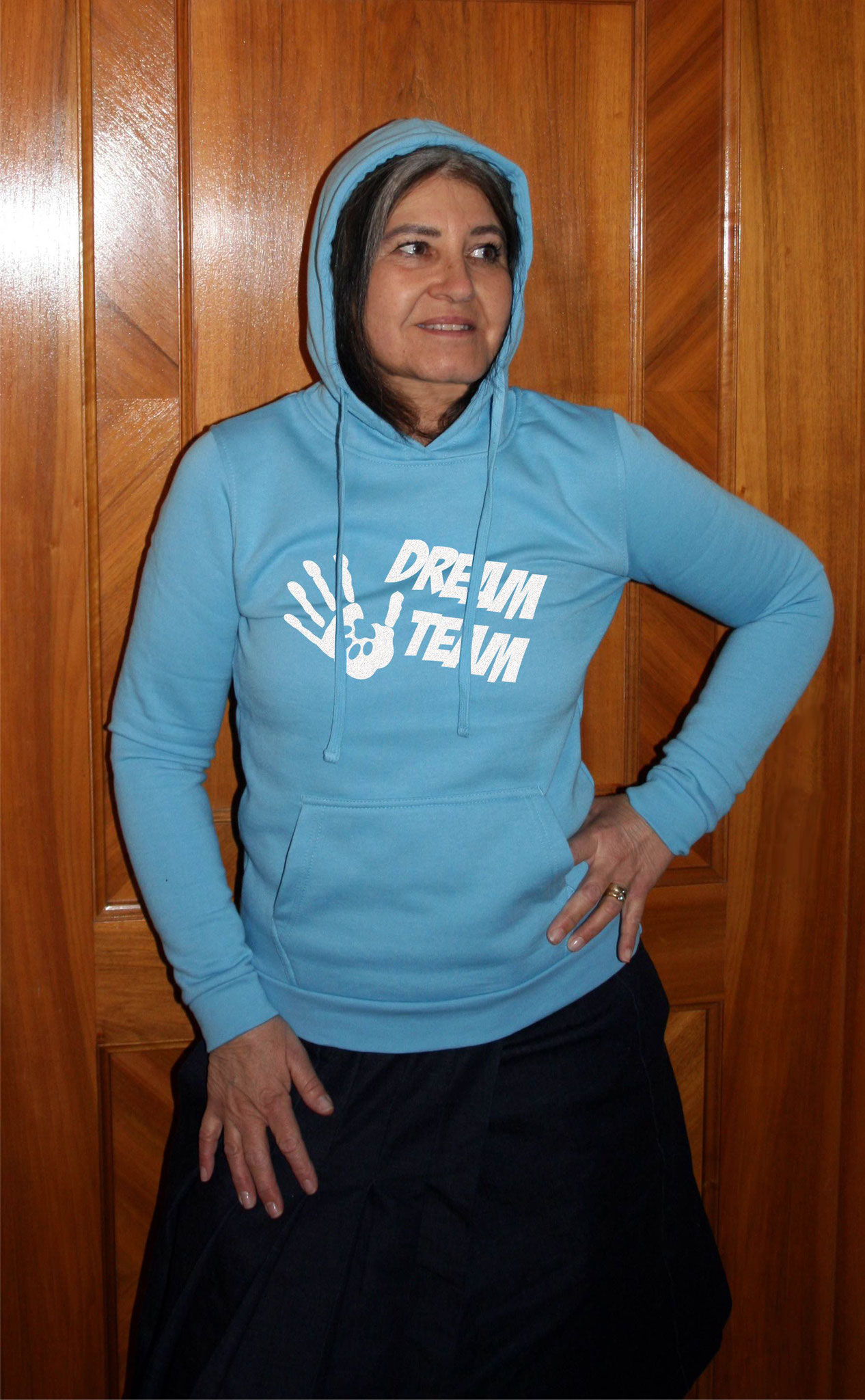 "Damen-Sweater sky blue mit Motiv ""DREAM TEAM"""