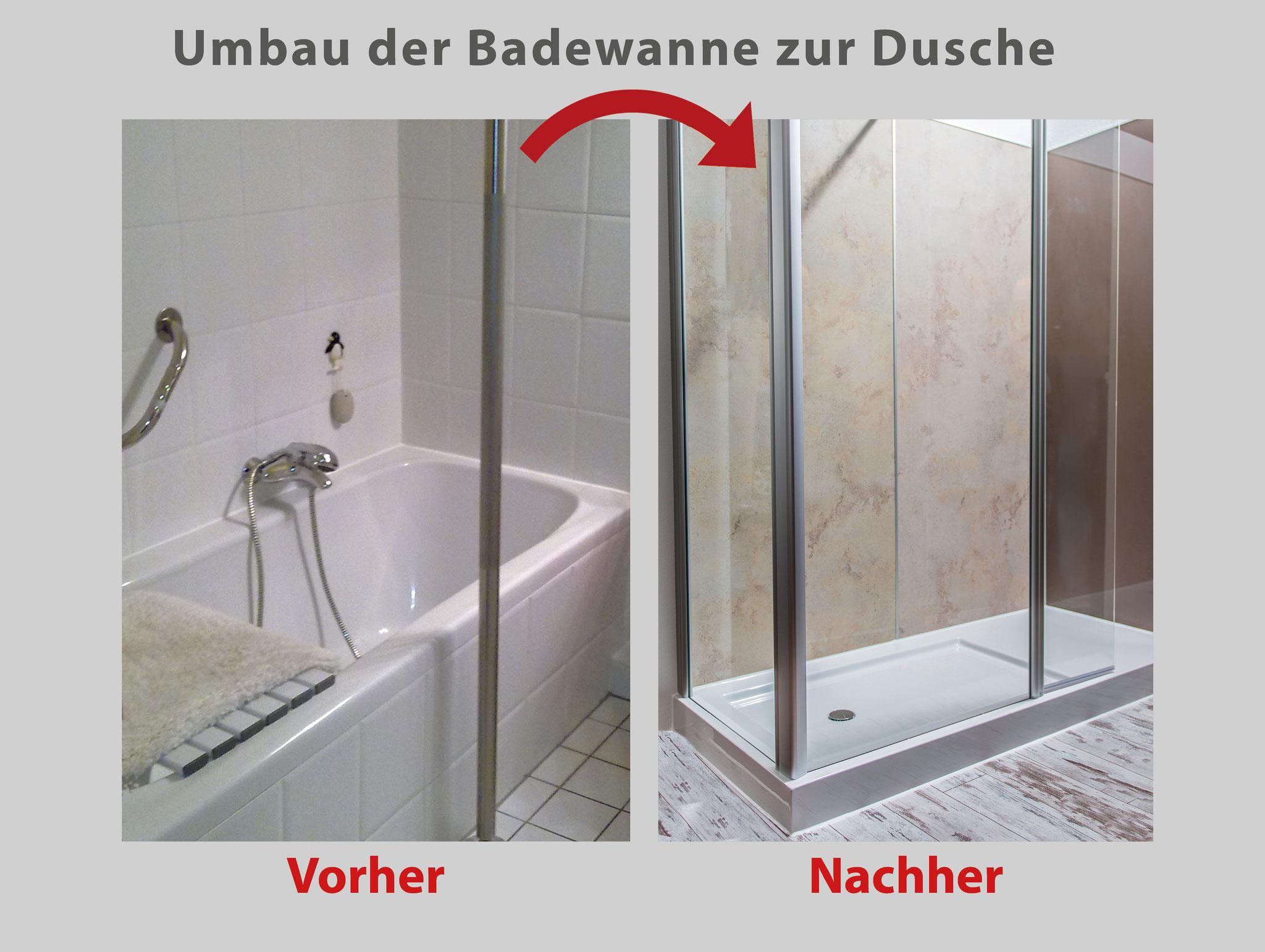 Aus Ihrer alten Badewanne wird ein geräumiges Duschvergnügen ...