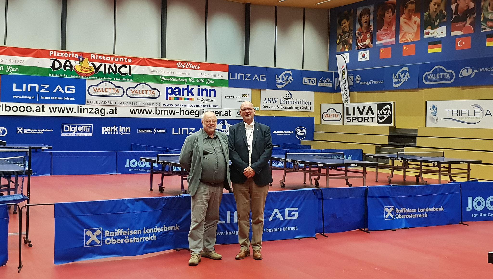 ETTU Präsident Ronald Kramer besucht mit LINZ AG Froschberg Klub Chef Günther Renner den Sportpark Lissfeld