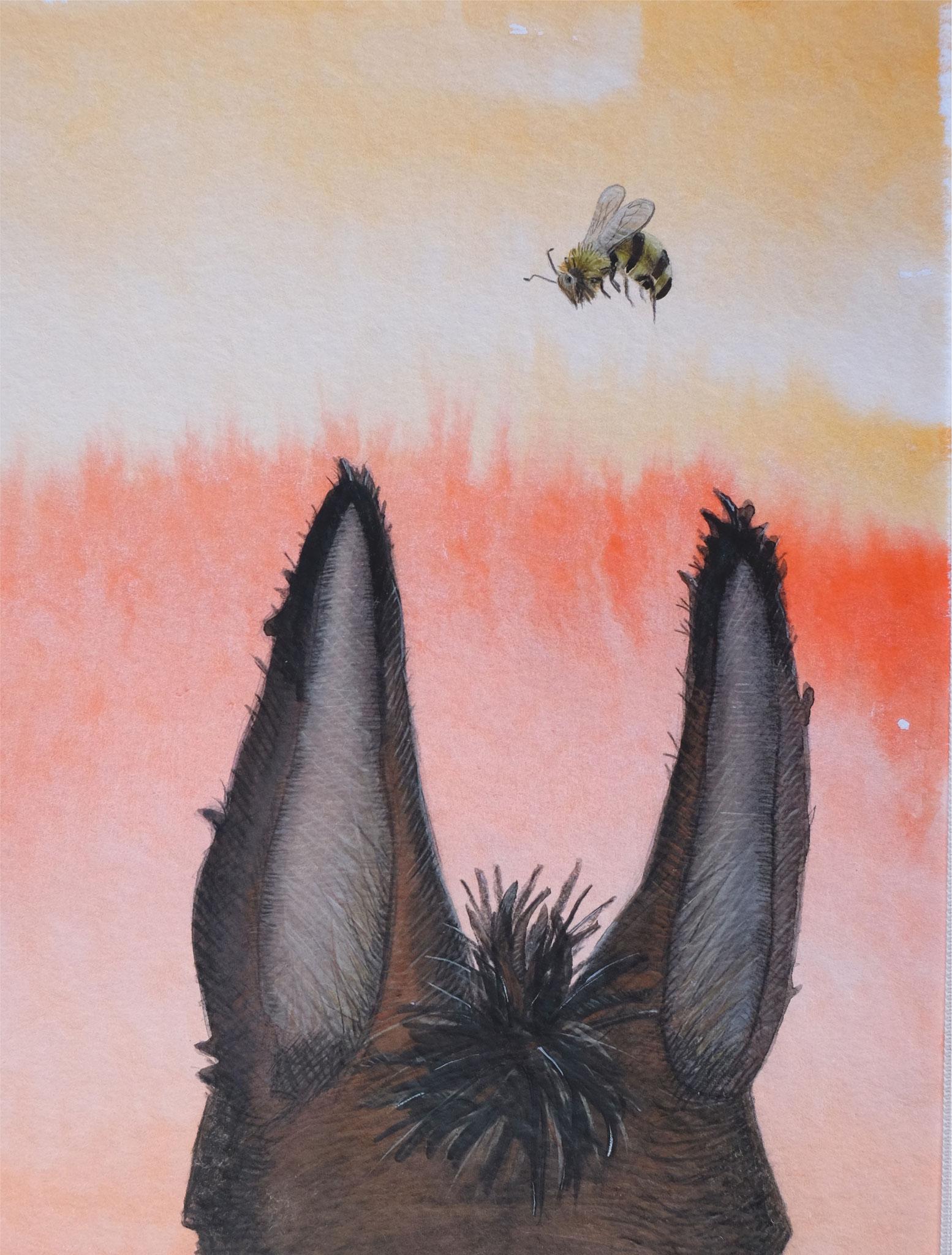 Es stand vor eines Hauses Tor ein Esel mit gespitztem Ohr.
