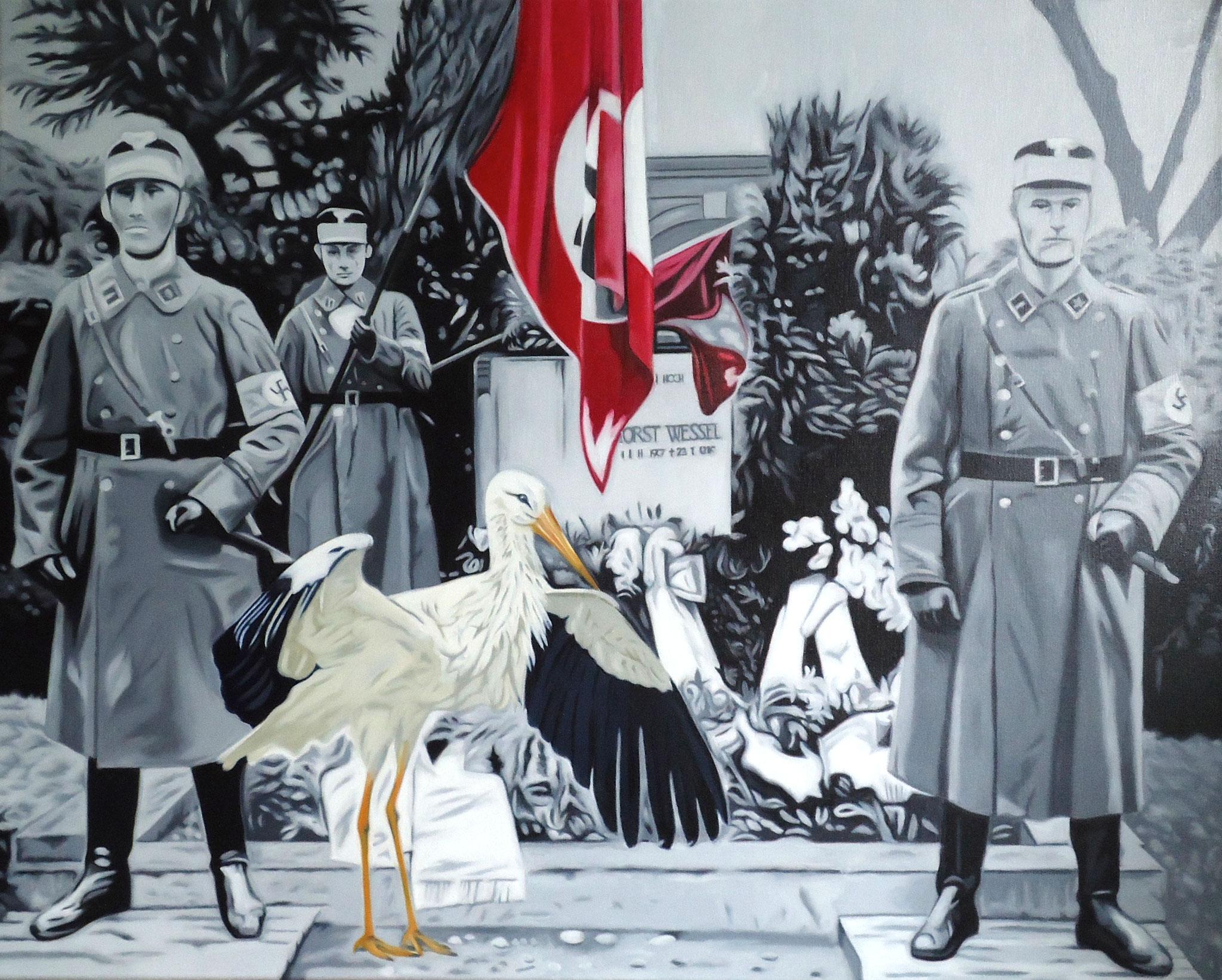 ' Kommando Storch ' Öl a. LW, 80 x 100 cm, 2018