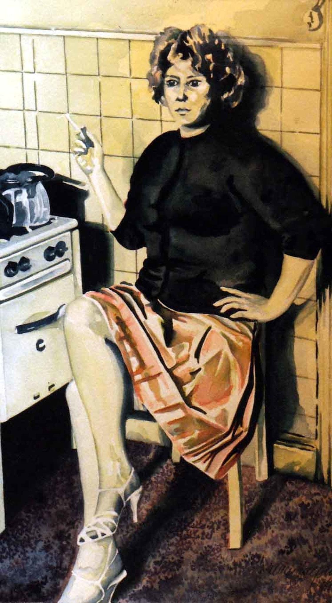 ' In meiner Küche ' Aquarell, 47 x 27 cm, 1995
