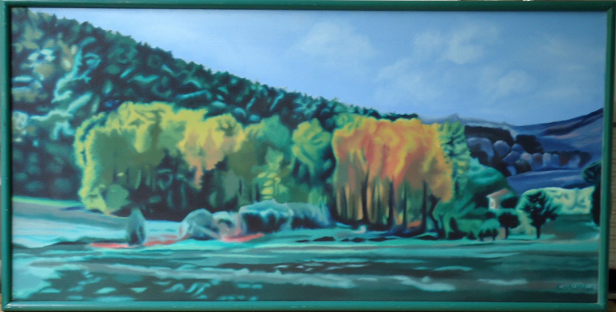 ' Toskana I ' Öl a. LW, 52 x 103 cm, 1996