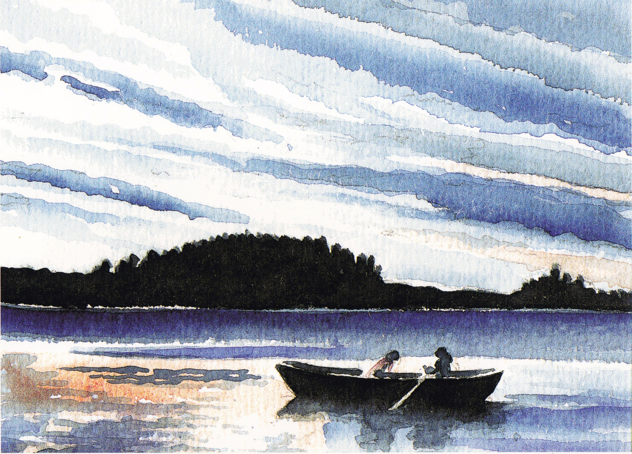 ' Abendstimmung am See ' Aquarell/Pittstift, 17 x 22 cm, 2006