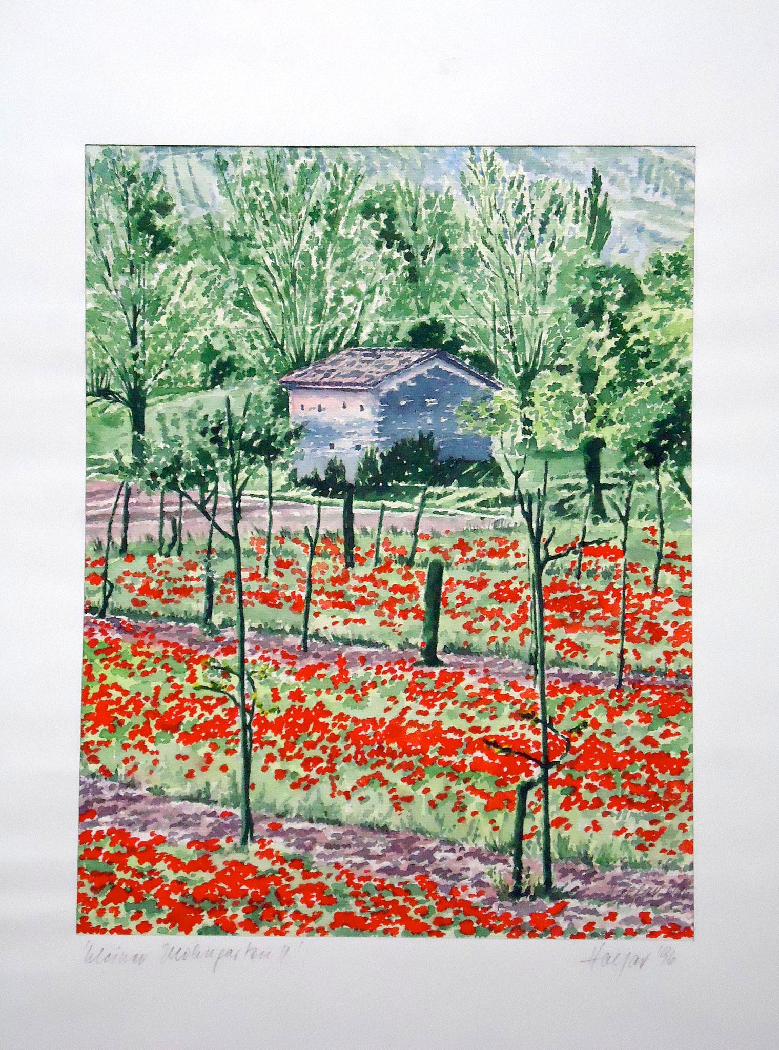 ' Mohngarten ' Aquarell, 40 x 50 cm, 1996