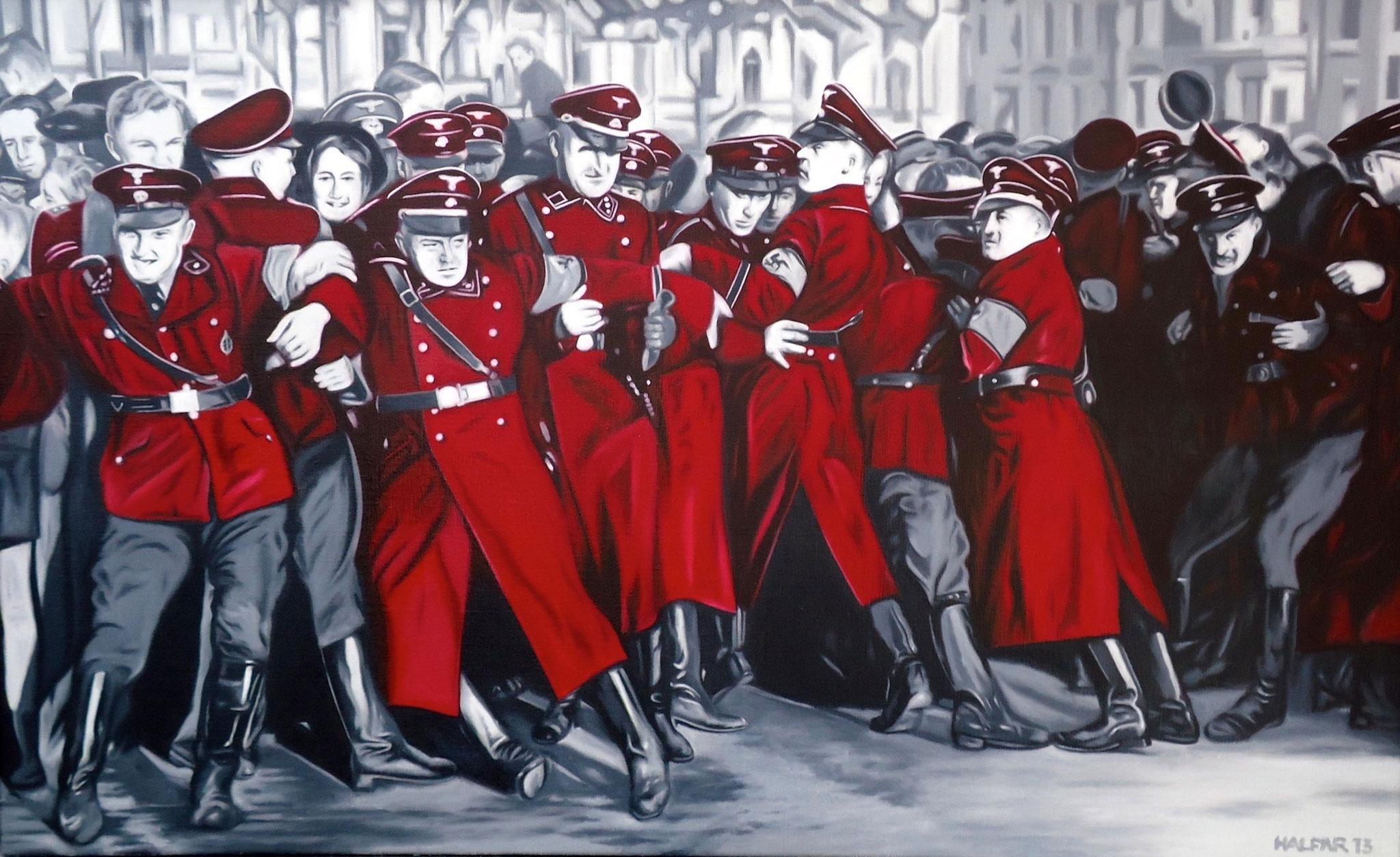 ' Ein Tag im Leben unserer Väter ' Öl a. LW, 140 x 80 cm, 2013