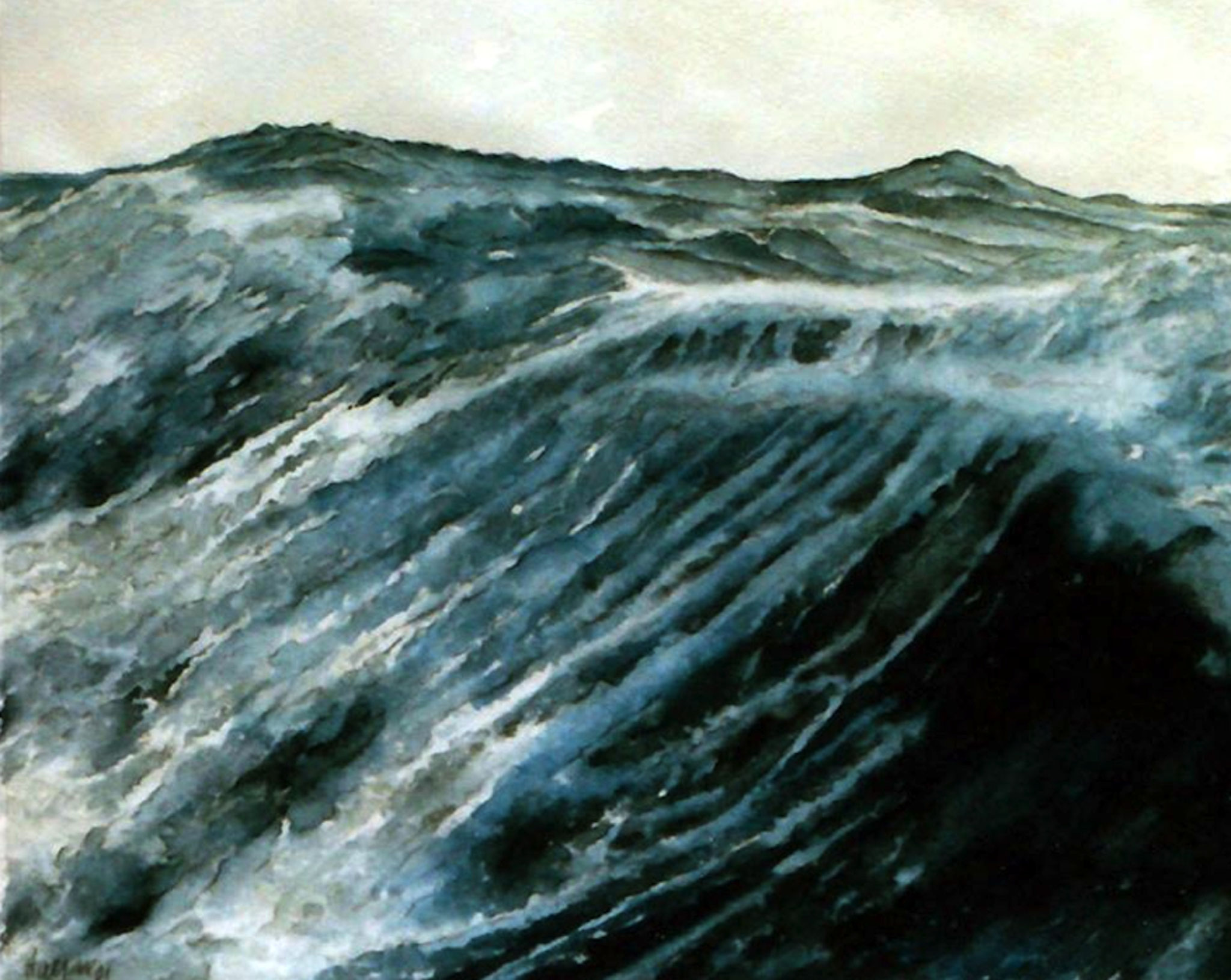 ' Hochsee ' Aquarell/Pittstift, 45 x 30 cm, 1997