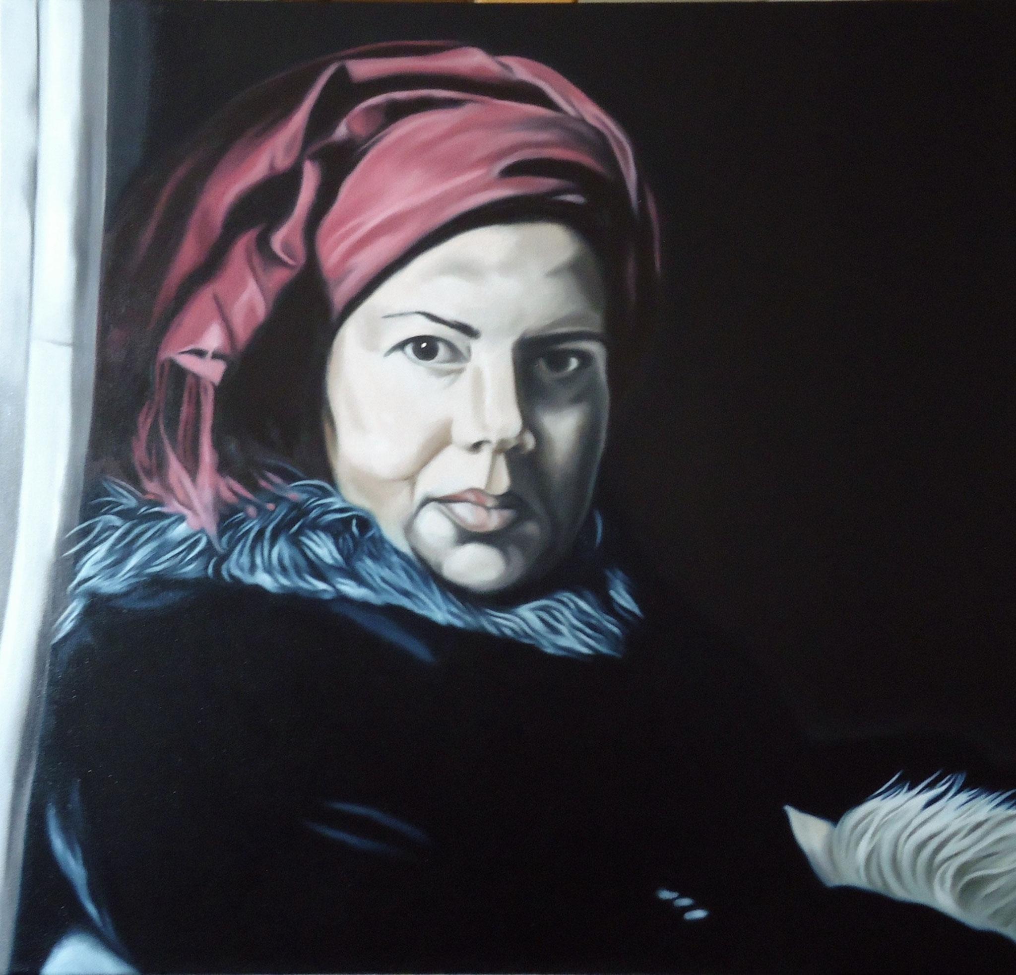 ' Frau mit rotem Kopftuch ' Öl a. LW, 70 x 70 cm, 2014